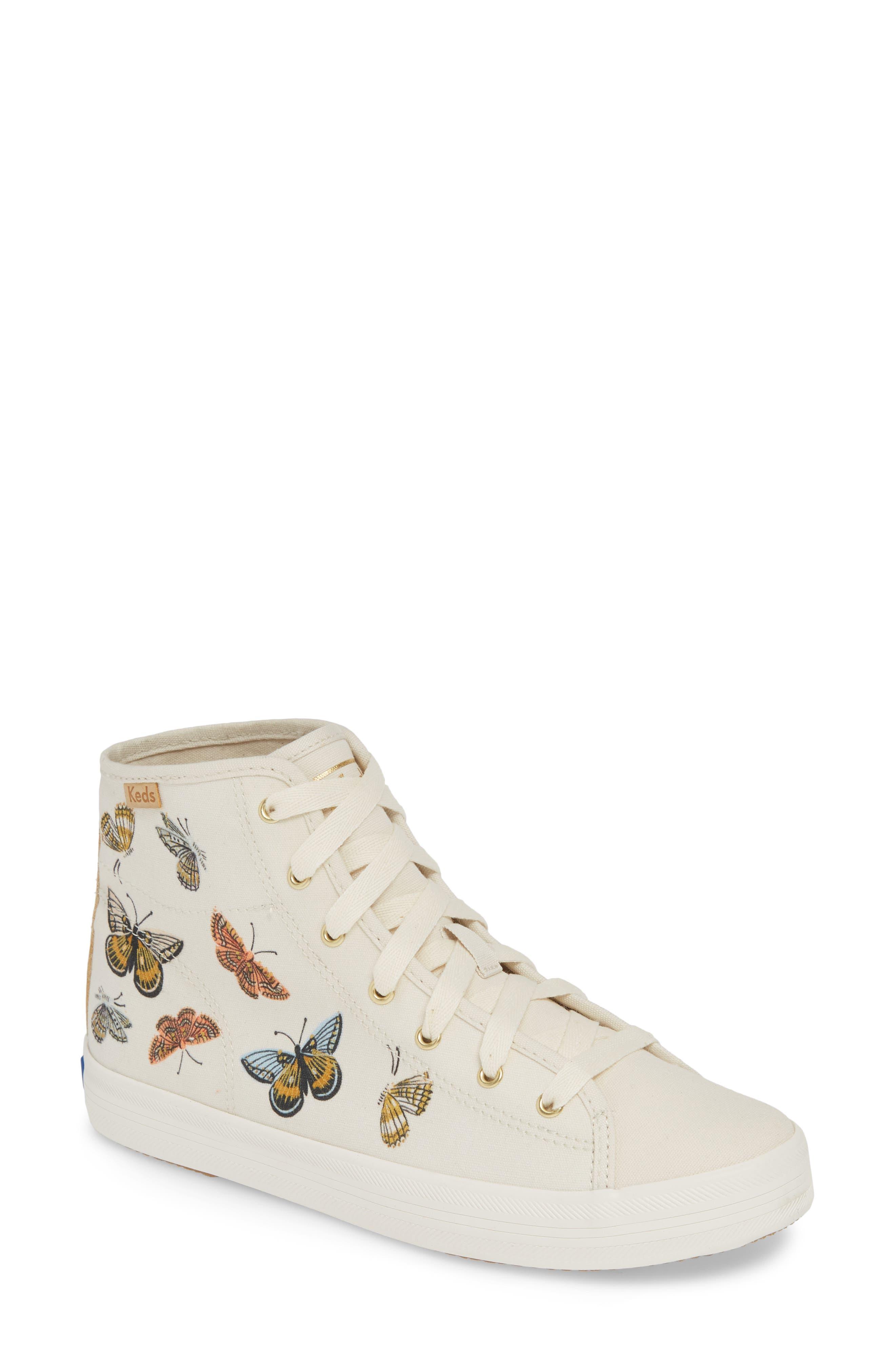 KEDS<SUP>®</SUP>, x Rifle Paper Co. Kickstart Butterfly Sneaker, Main thumbnail 1, color, CREAM