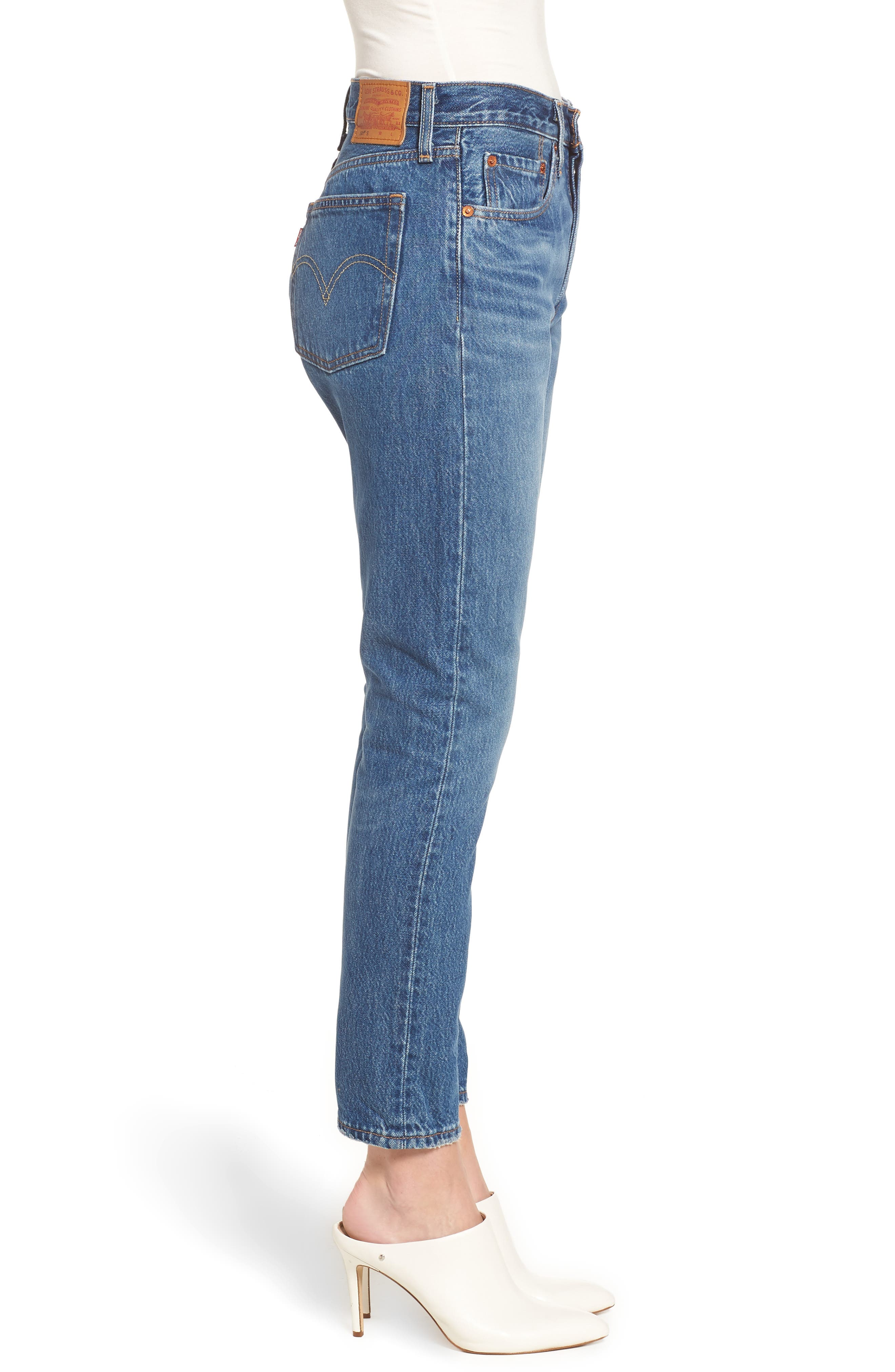 LEVI'S<SUP>®</SUP>, 501<sup>®</sup> High Waist Ankle Skinny Jeans, Alternate thumbnail 4, color, CHILL PILL