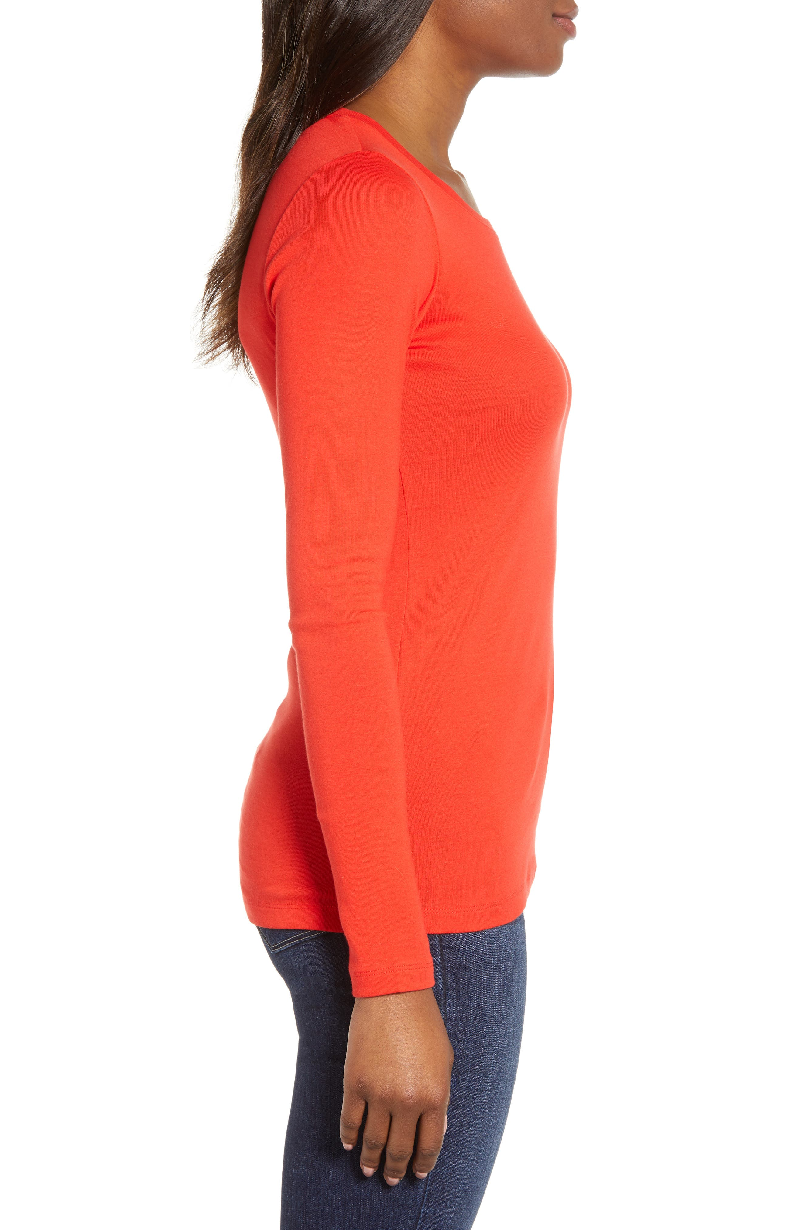 CASLON<SUP>®</SUP>, Long Sleeve Scoop Neck Cotton Tee, Alternate thumbnail 4, color, RED SCARLET