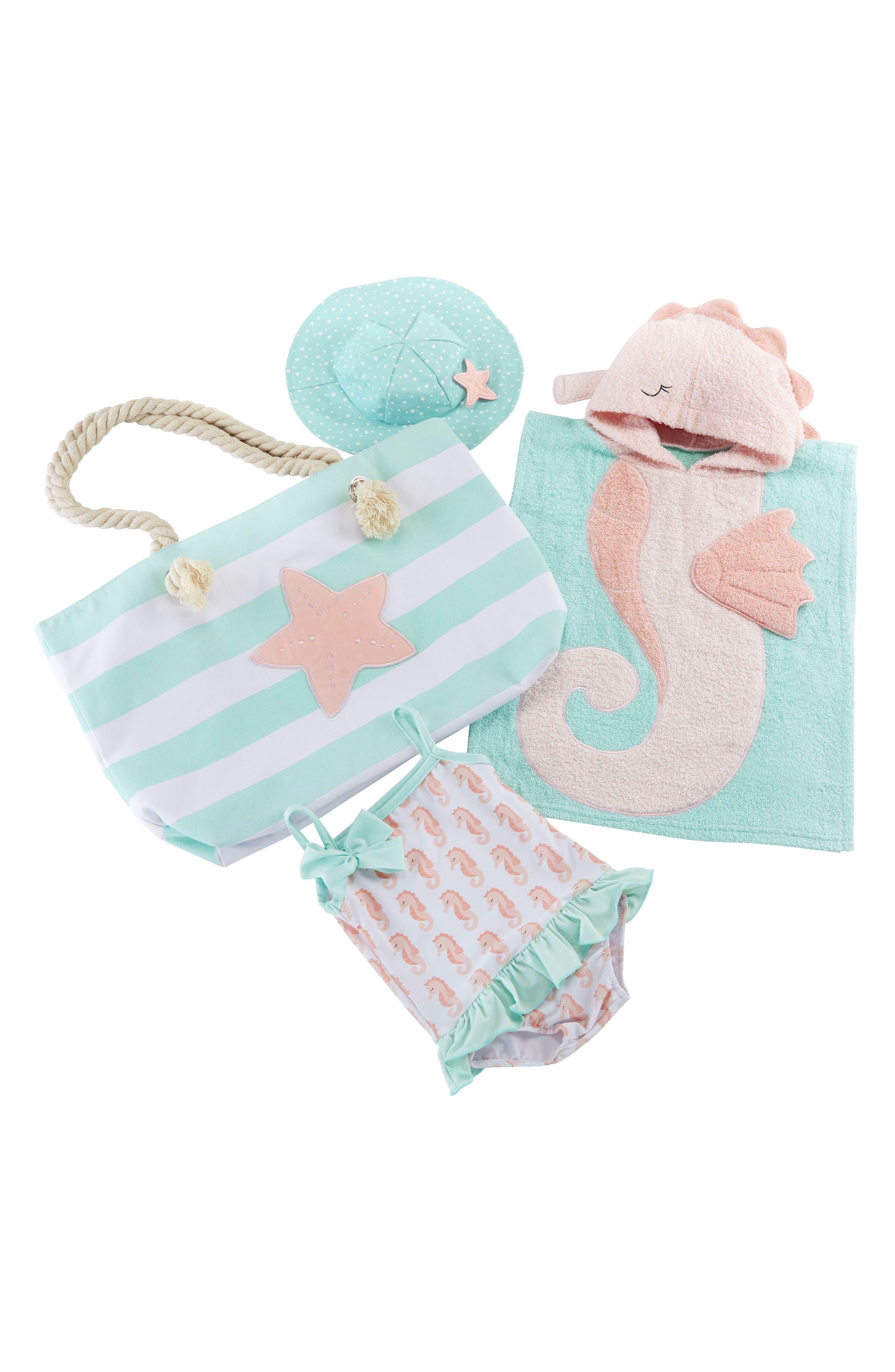 BABY ASPEN, Seahorse Hooded Towel, Swimsuit, Sun Hat & Tote Set, Main thumbnail 1, color, 690