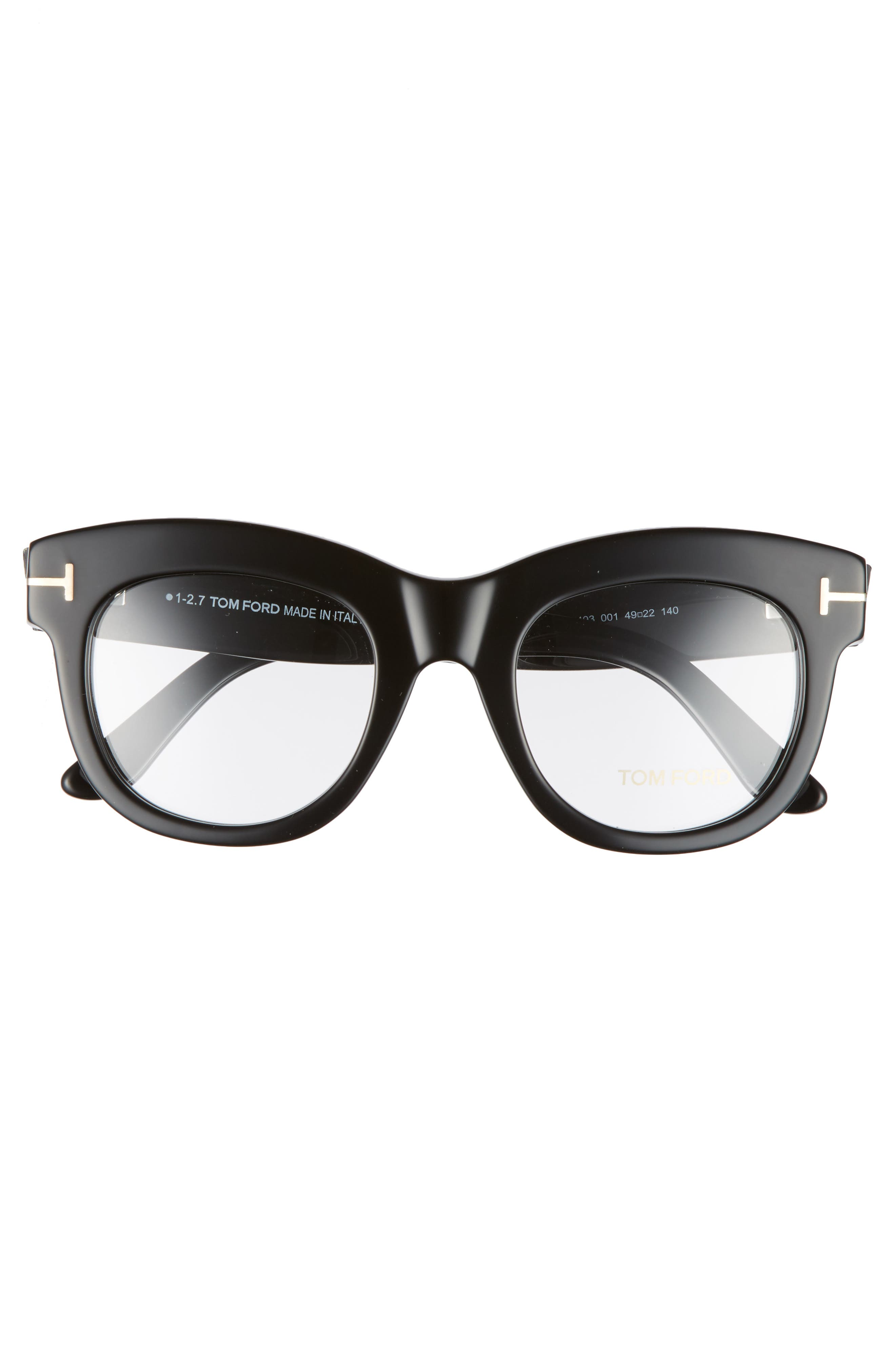 TOM FORD, 49mm Optical Glasses, Alternate thumbnail 3, color, SHINY BLACK