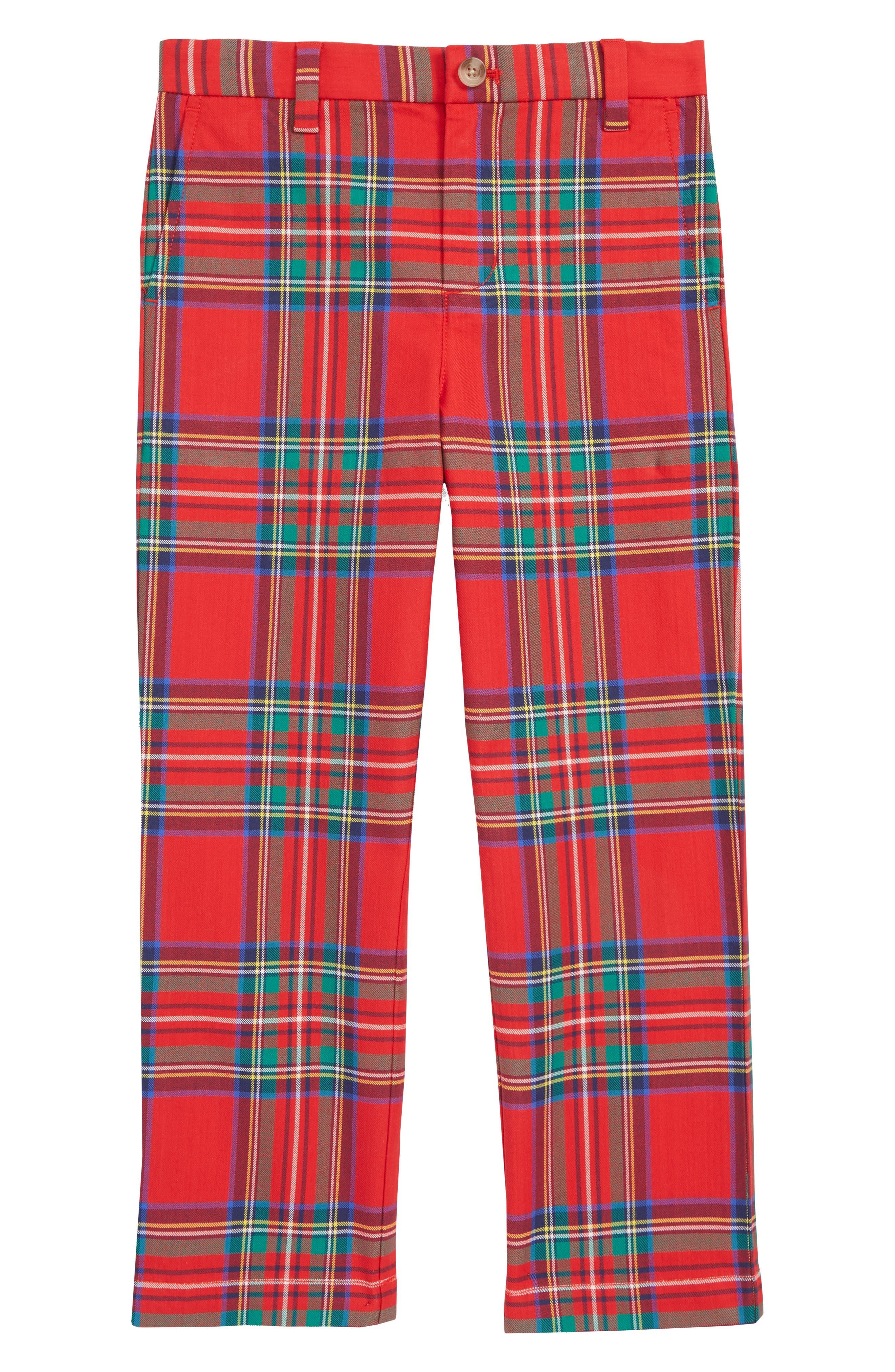 VINEYARD VINES, Jolly Plaid Breaker Pants, Main thumbnail 1, color, LIGHTHOUSE RED