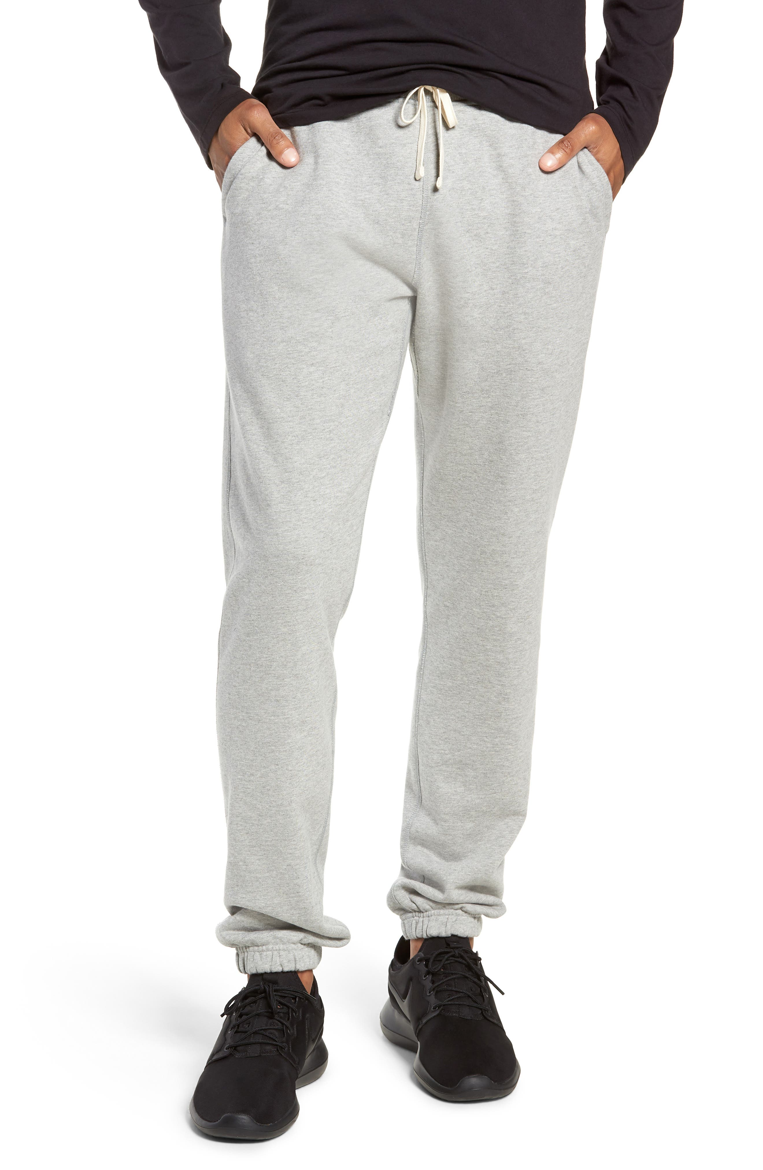 REIGNING CHAMP, Cotton Jogger Pants, Main thumbnail 1, color, HEATHER GREY