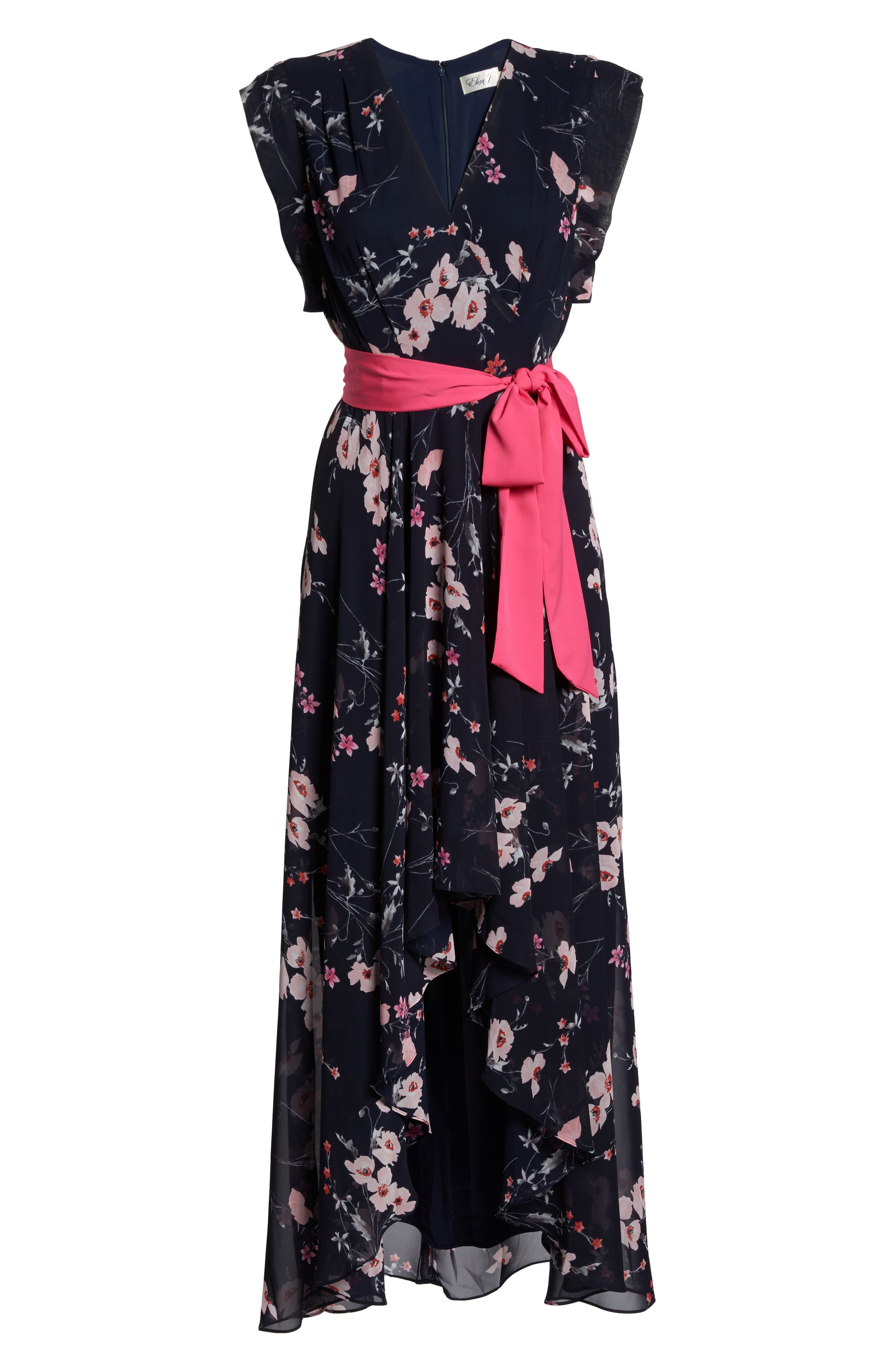 ELIZA J, High/Low Floral Faux Wrap Dress, Alternate thumbnail 7, color, NAVY/ PINK