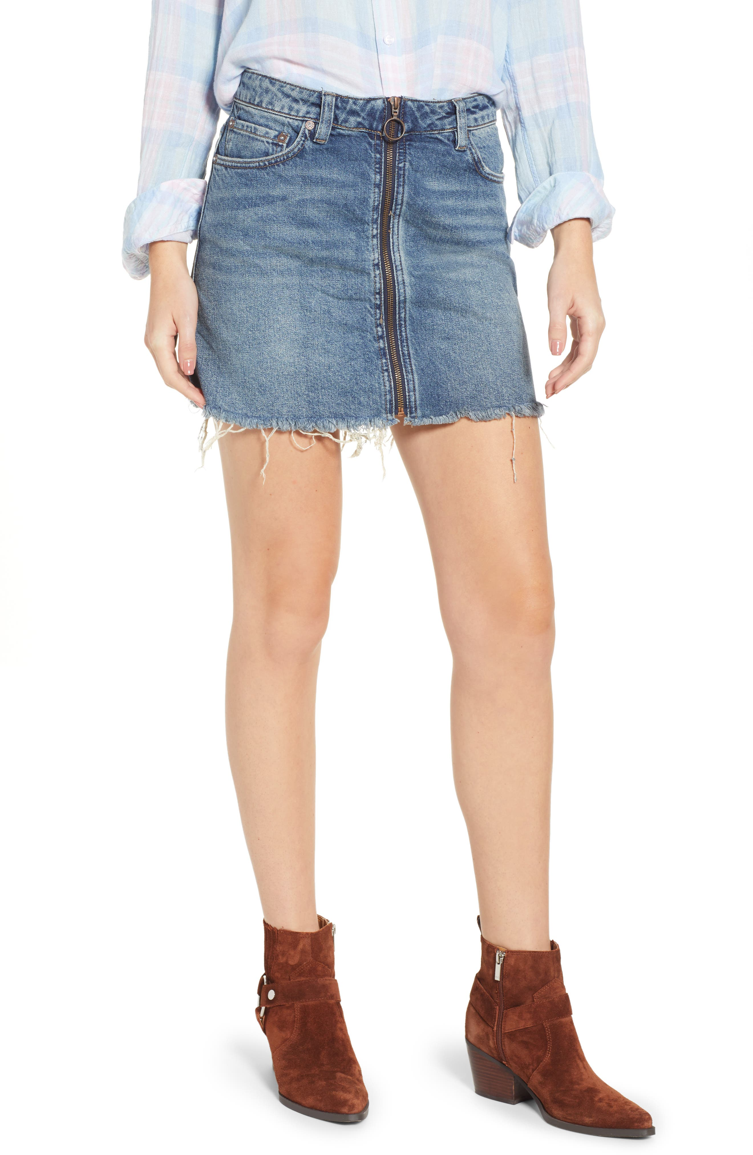 FREE PEOPLE, We the Free by Free People Zip It Up Denim Miniskirt, Main thumbnail 1, color, BLUE