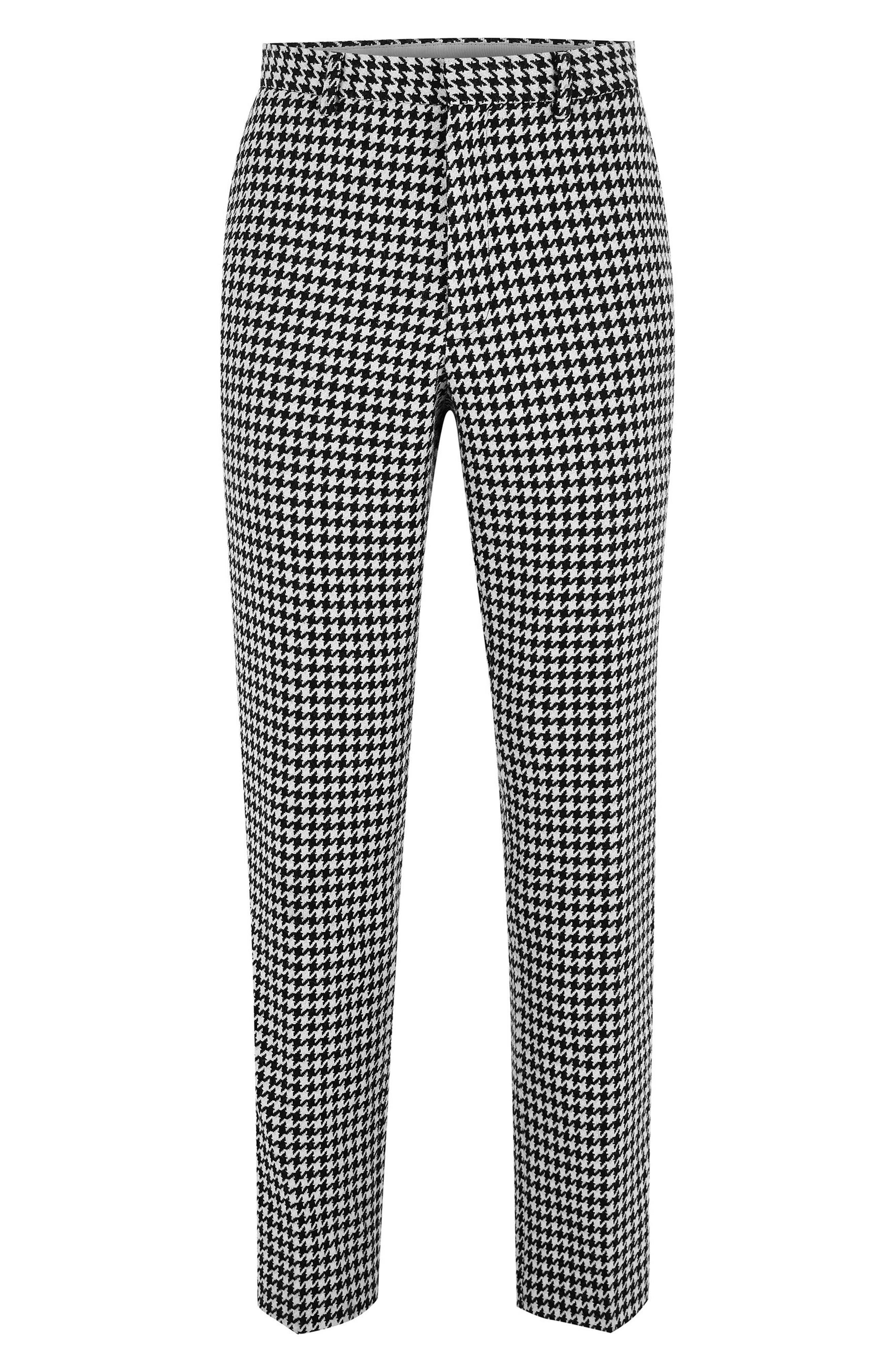 TOPMAN, Roe Skinny Fit Trousers, Alternate thumbnail 4, color, 001