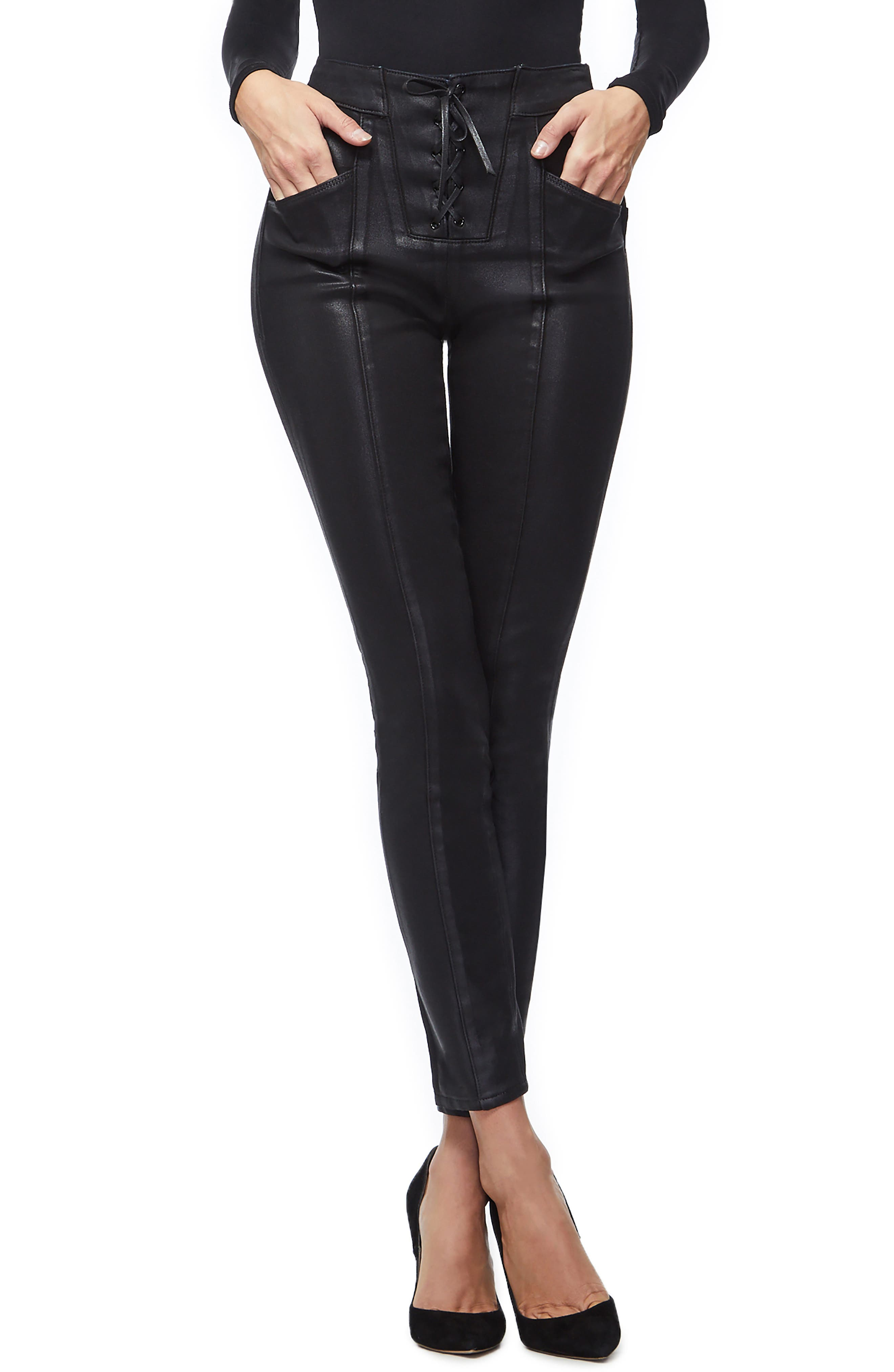 GOOD AMERICAN, Coated Lace-Up High Waist Skinny Jeans, Main thumbnail 1, color, BLACK034