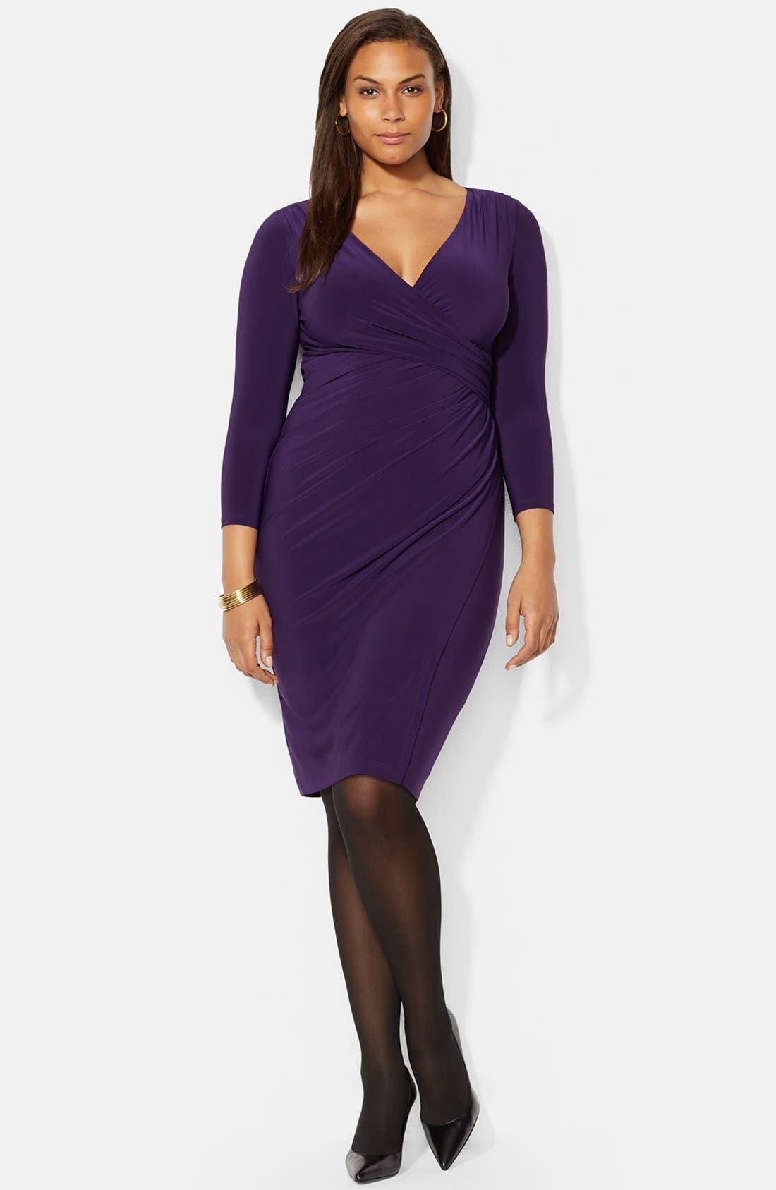 LAUREN RALPH LAUREN, Faux Wrap Matte Jersey Dress, Main thumbnail 1, color, 501