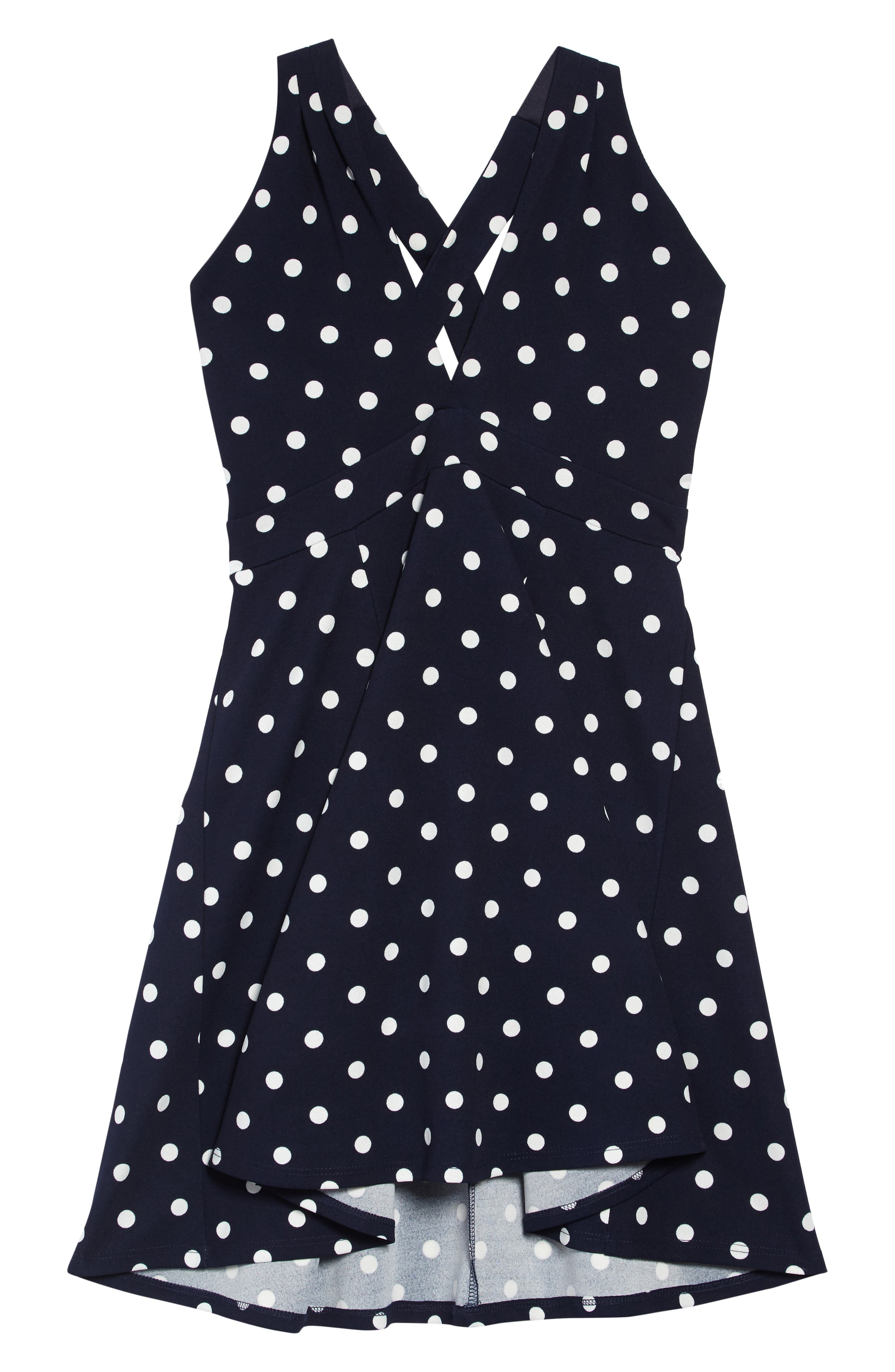LOVE, NICKIE LEW, Love Nickie Lew Polka Dot Halter Dress, Main thumbnail 1, color, NAVY/ IVORY
