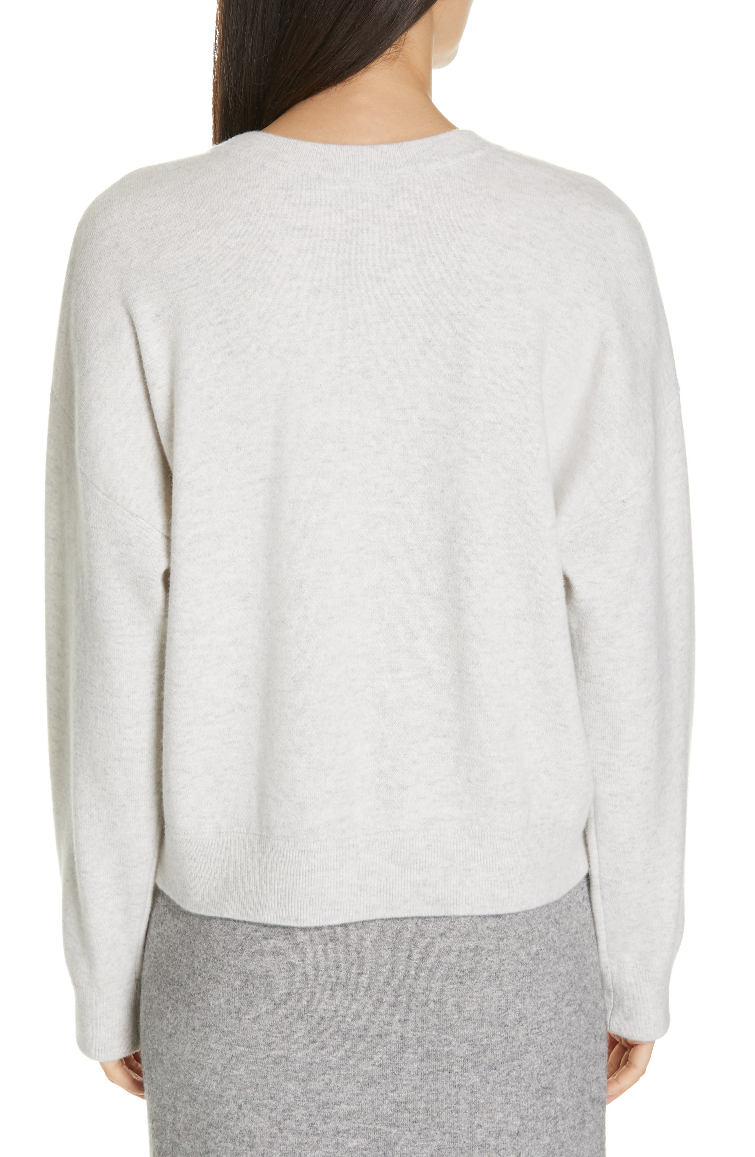 VINCE, Double Layer Sweater, Alternate thumbnail 2, color, H CLOUD/ OPTIC WHITE