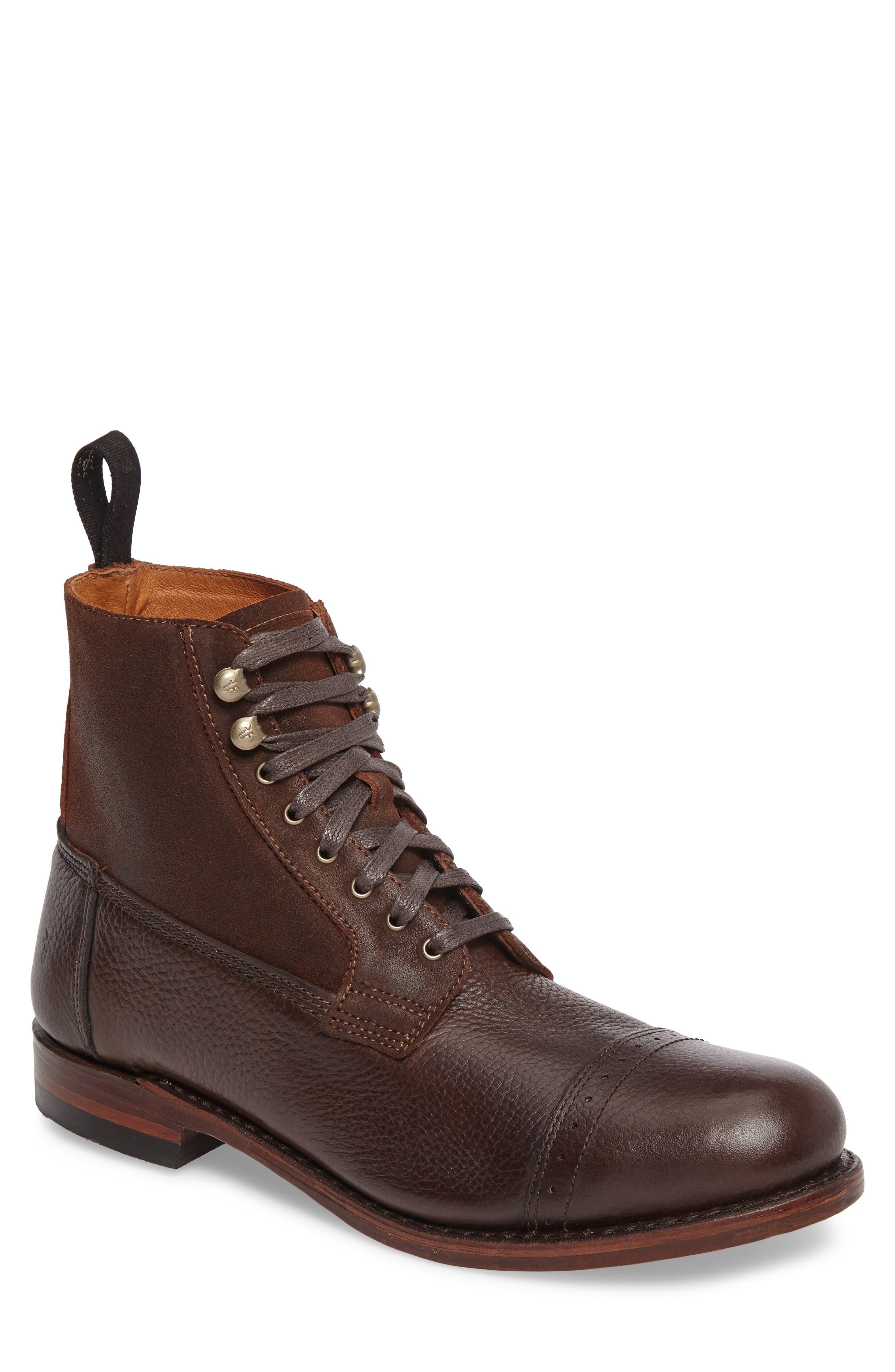 Frey Garrison Cap Toe Boot- Brown