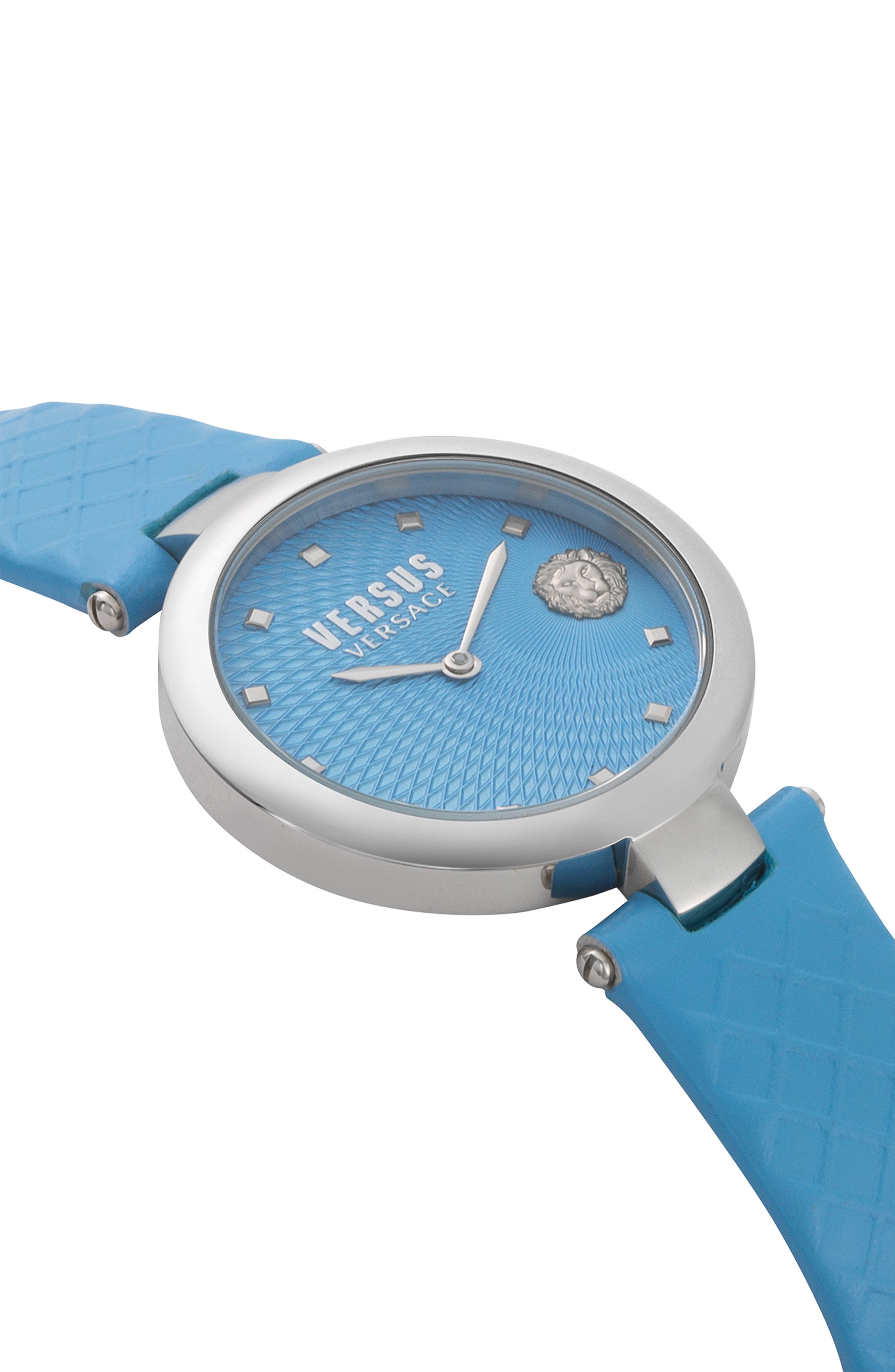VERSUS VERSACE, Buffle Bay Leather Strap Watch, 36mm, Alternate thumbnail 3, color, BLUE/ SILVER