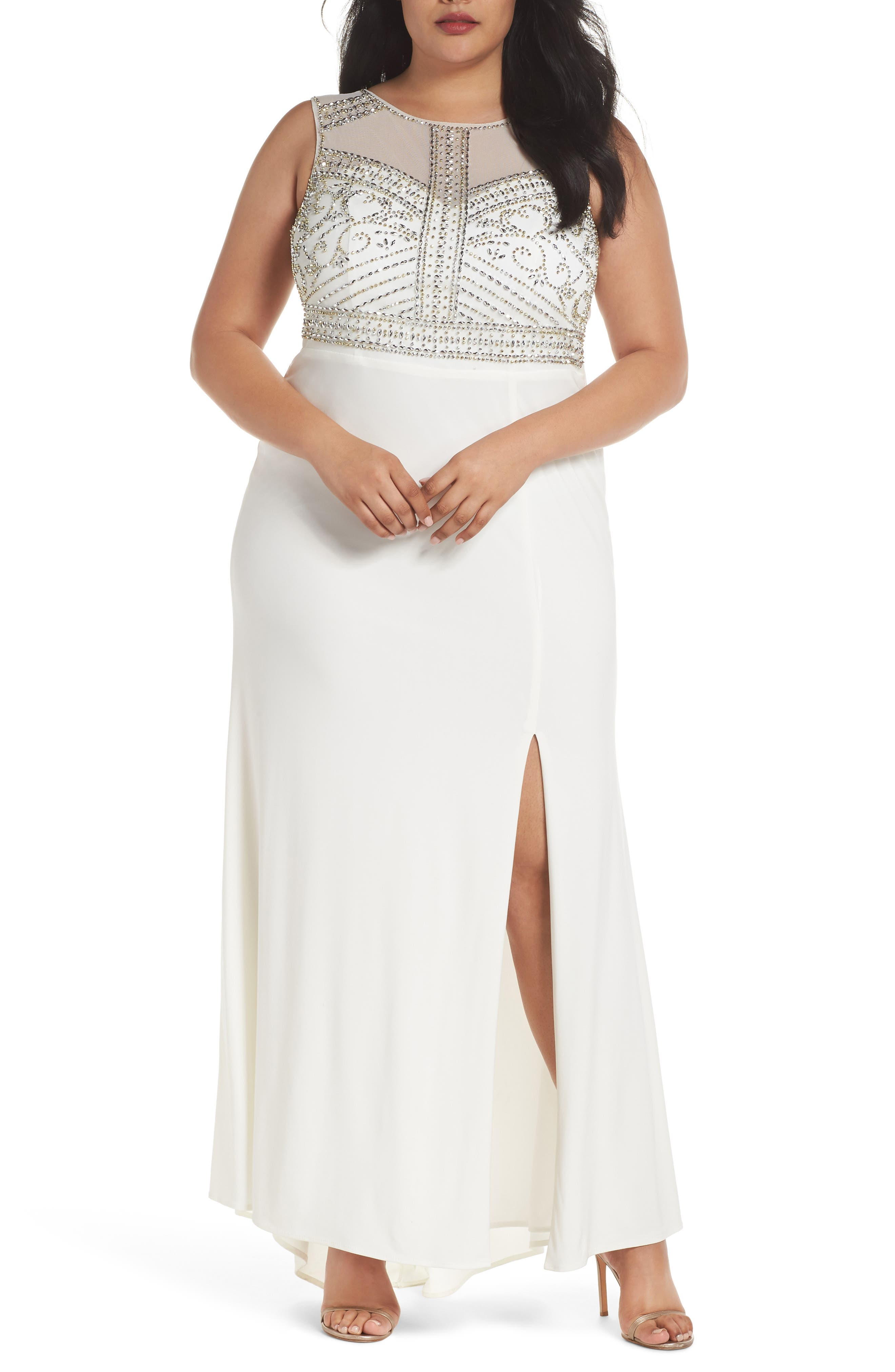 Plus Size Morgan & Co. Beaded Sheer Back Gown, Ivory
