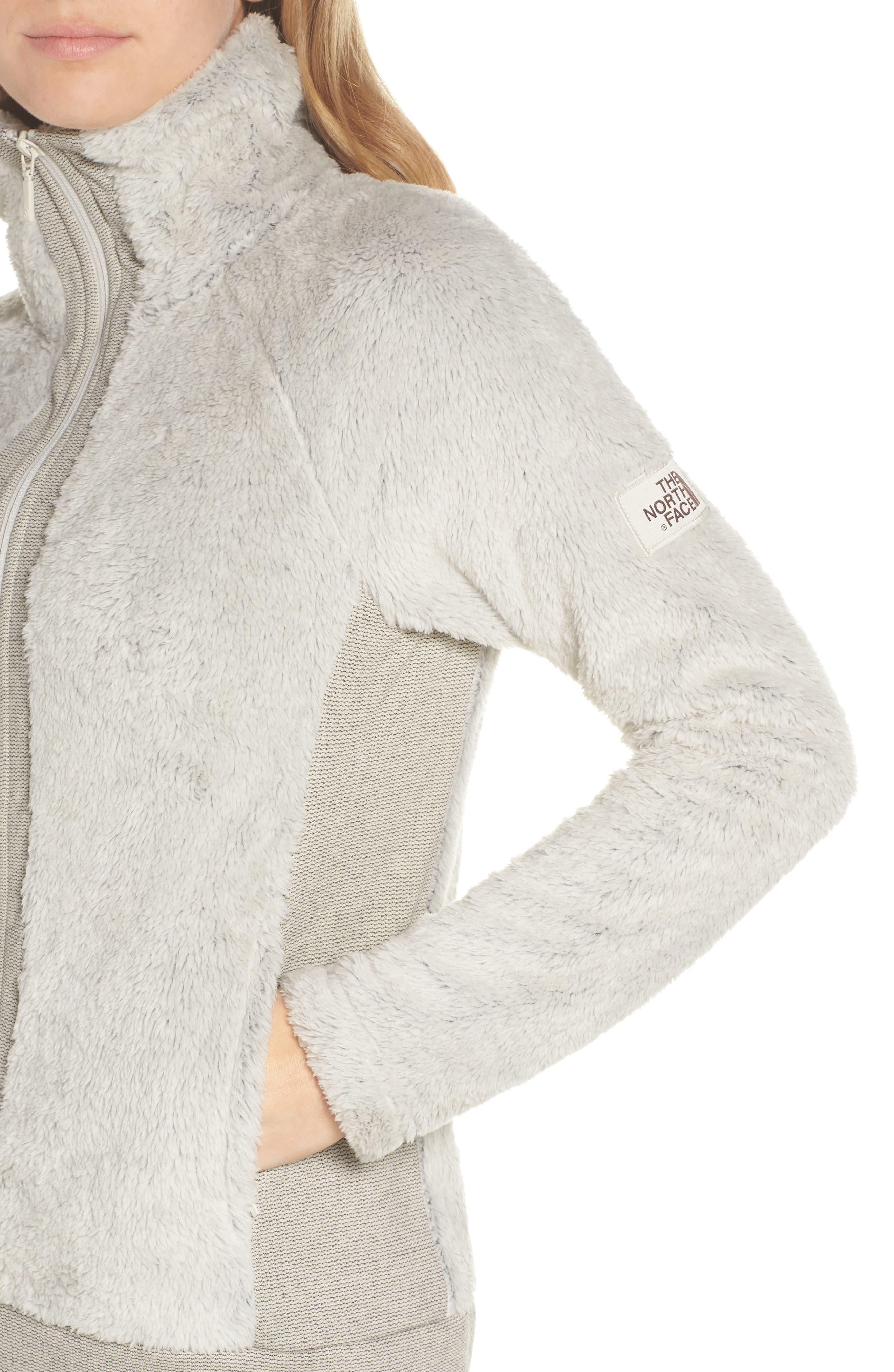 THE NORTH FACE, Furry Fleece Jacket, Alternate thumbnail 5, color, VINTAGE WHITE