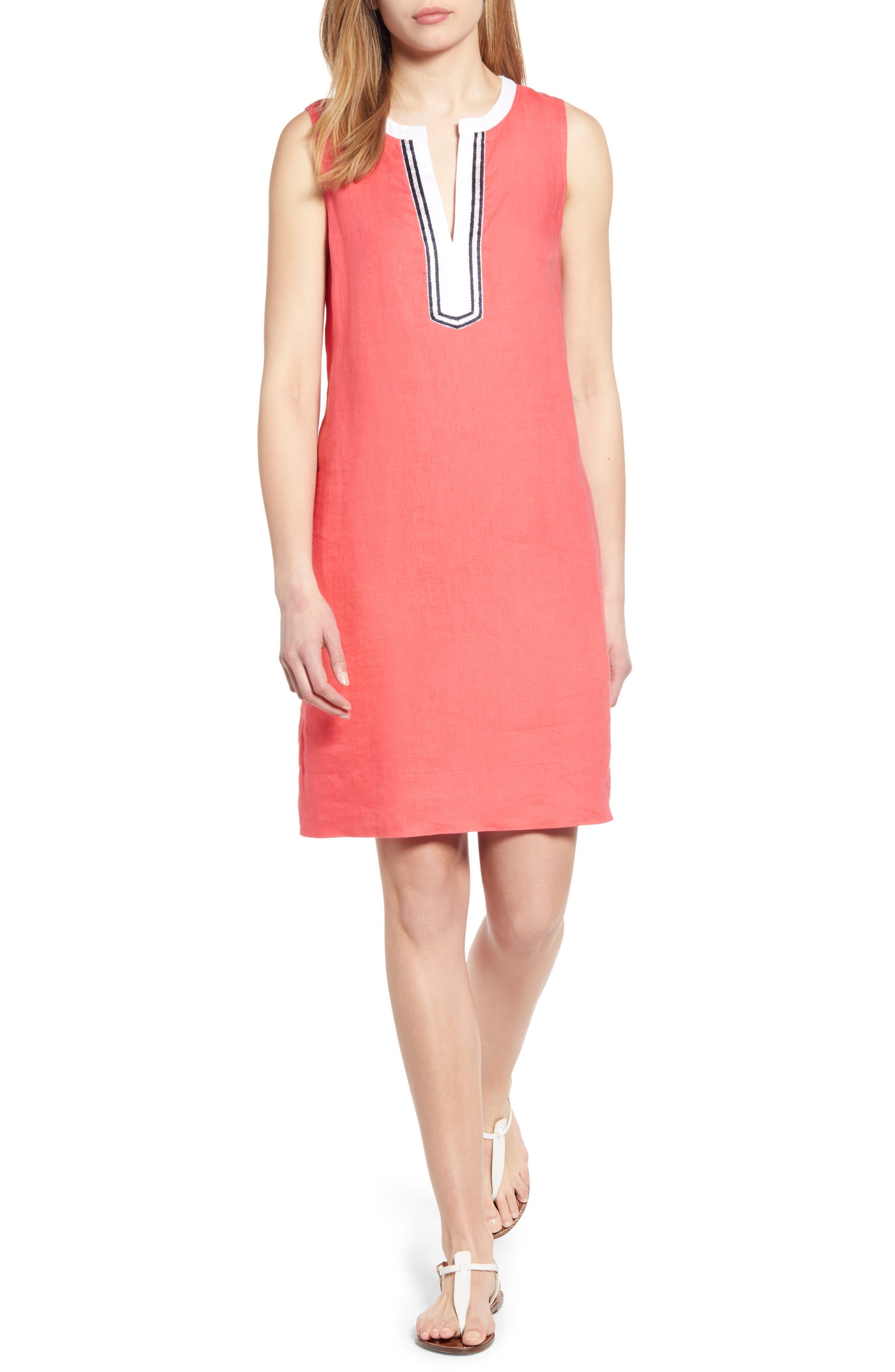 Tommy Bahama Two Palms Split Neck Linen Shift Dress, Pink