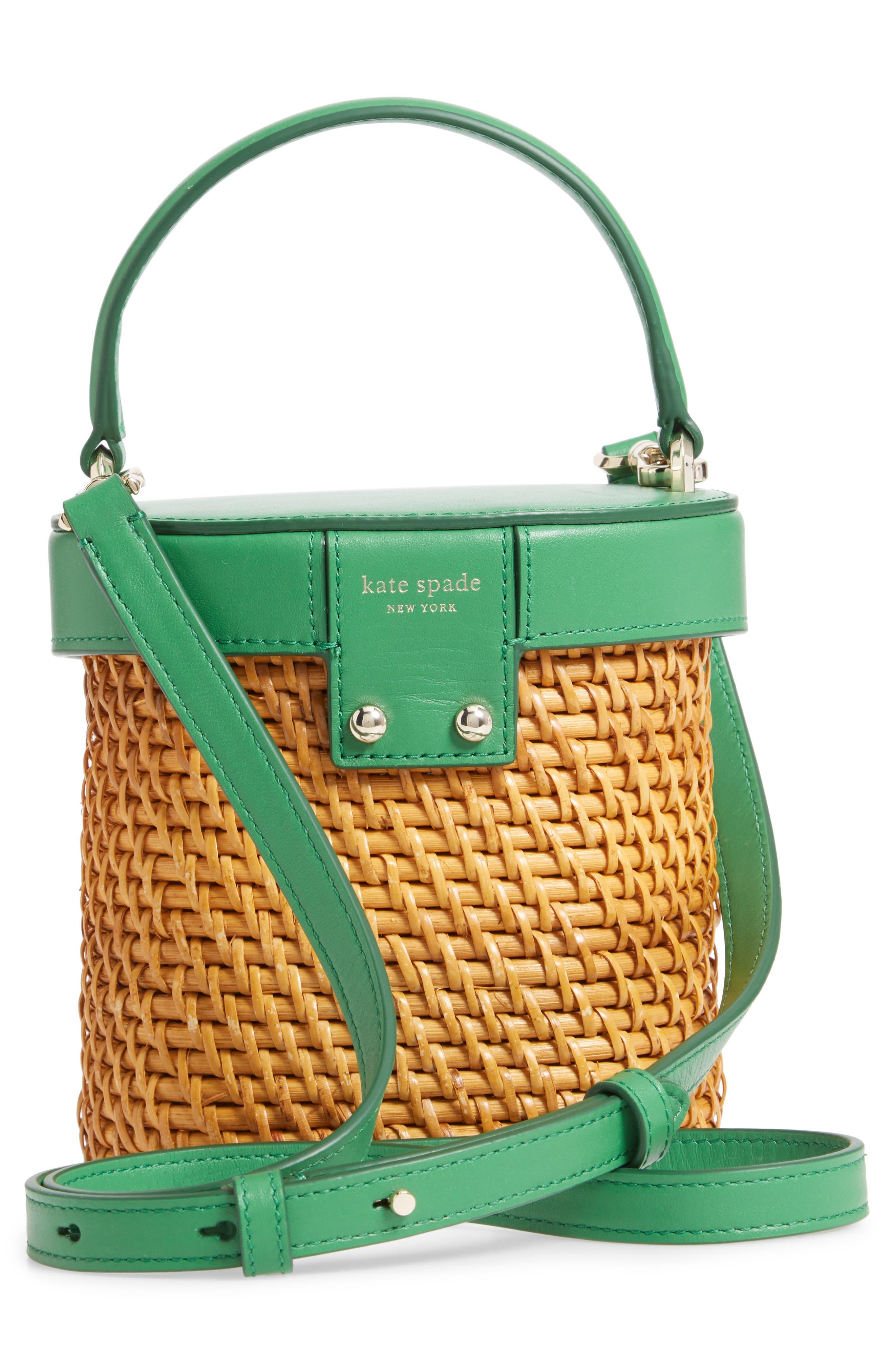 KATE SPADE NEW YORK, mini rose rattan bucket bag, Alternate thumbnail 3, color, GREEN BEAN