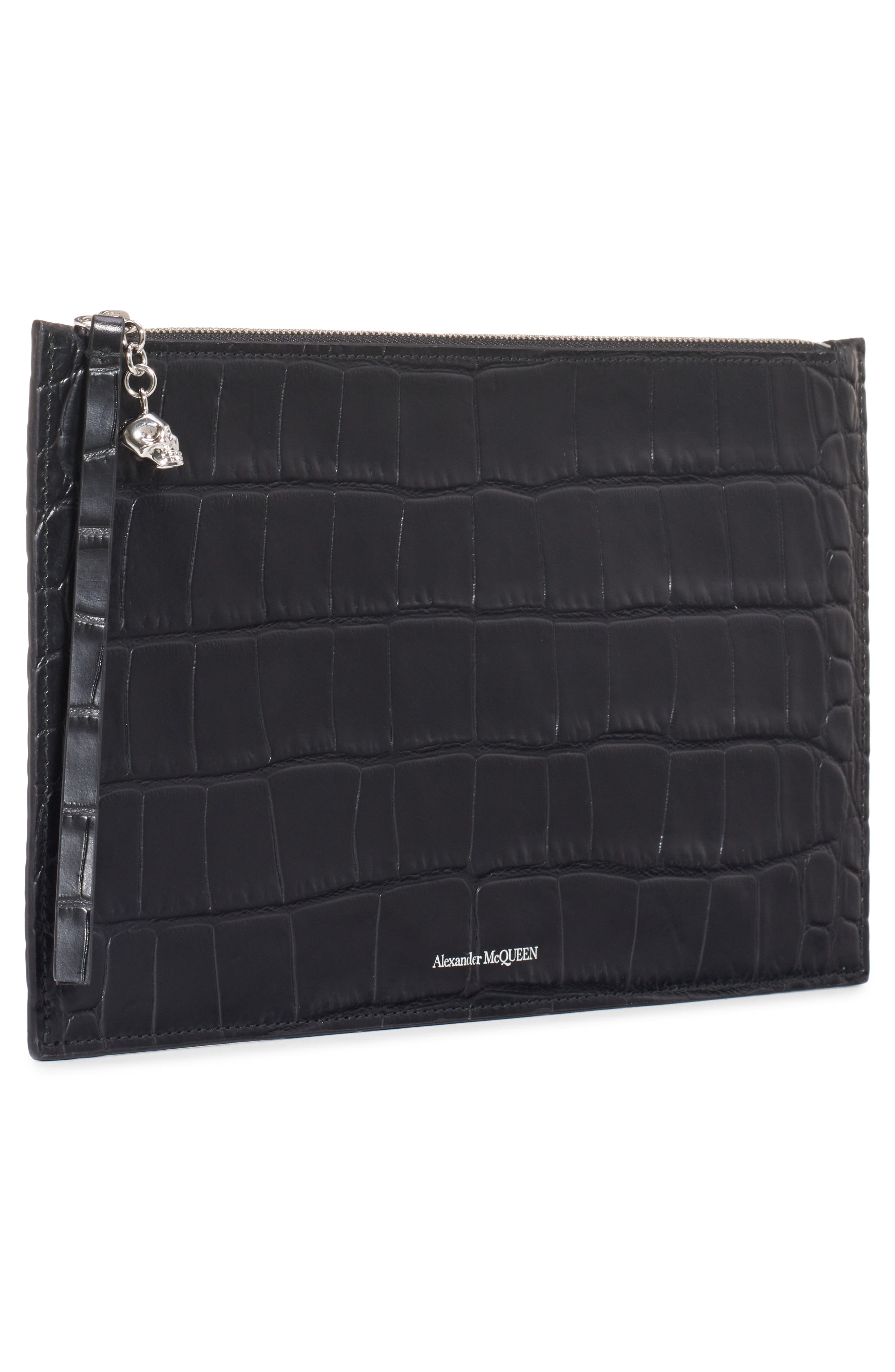 ALEXANDER MCQUEEN, Croc Embossed Leather Pouch, Alternate thumbnail 5, color, BLACK