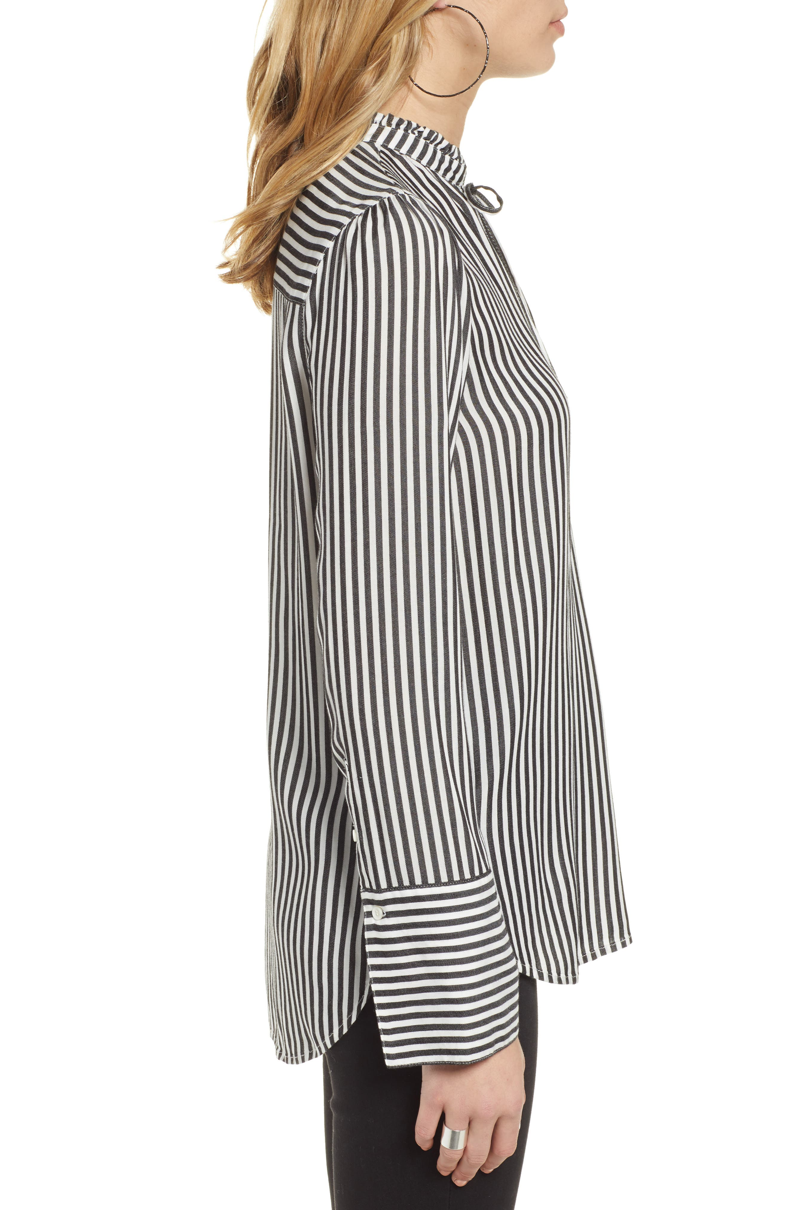 TREASURE & BOND, Stripe Ruffle Neck Shirt, Alternate thumbnail 3, color, BLACK- WHITE SARA STRIPE