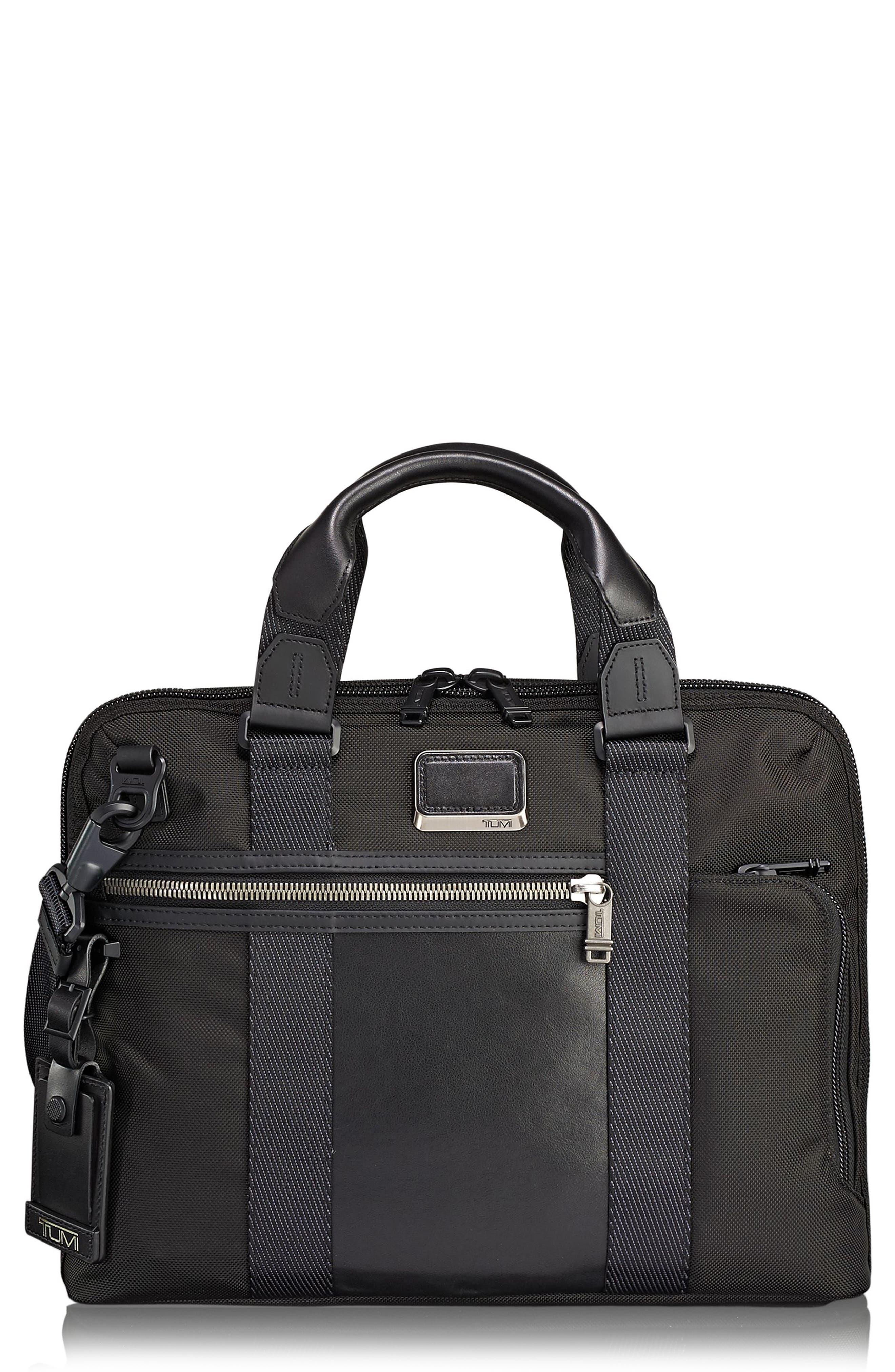 TUMI Alpha Bravo - Charleston Briefcase, Main, color, BLACK