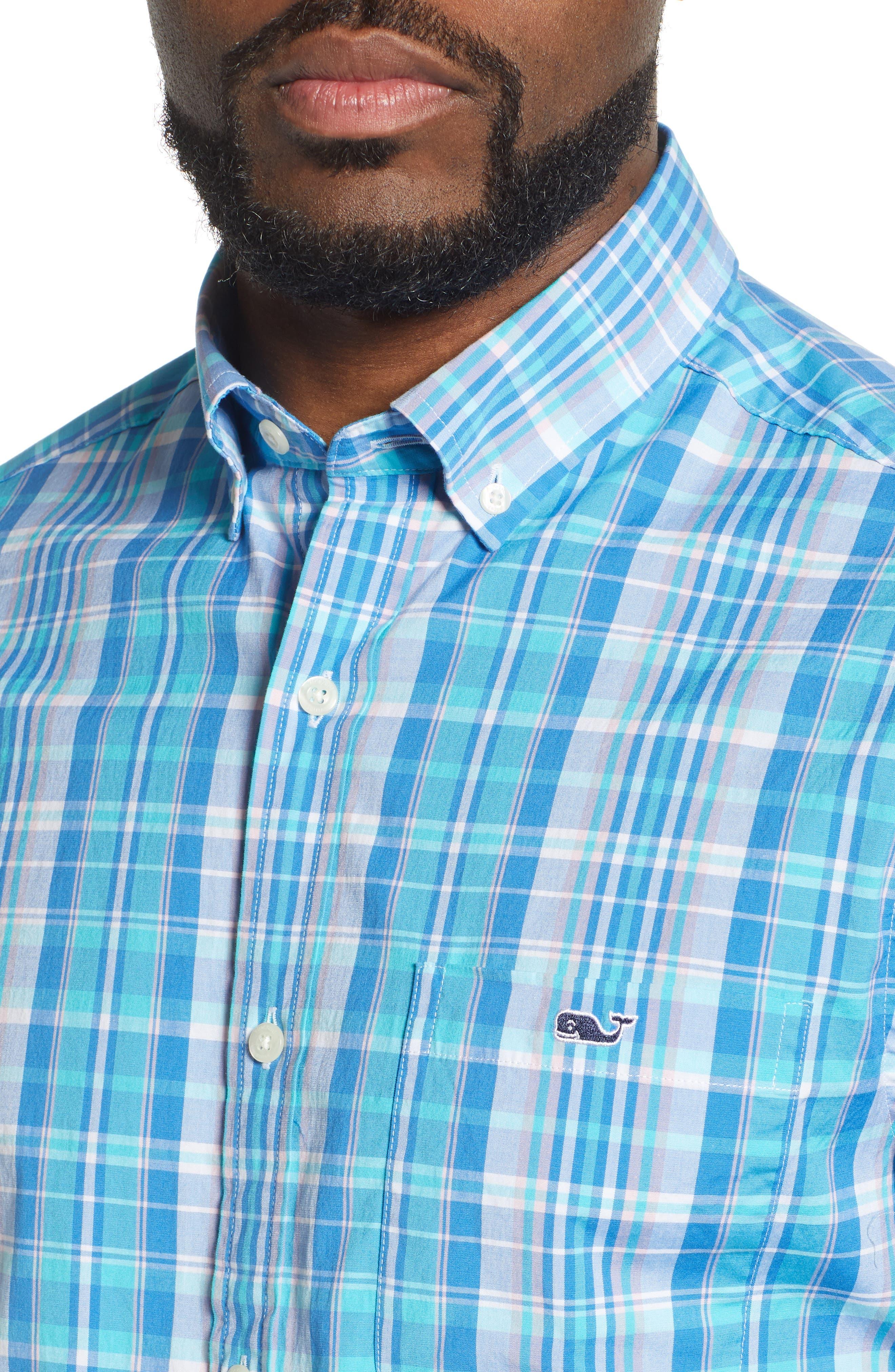 VINEYARD VINES, Tucker Regular Fit Plaid Sport Shirt, Alternate thumbnail 2, color, JAKE BLUE