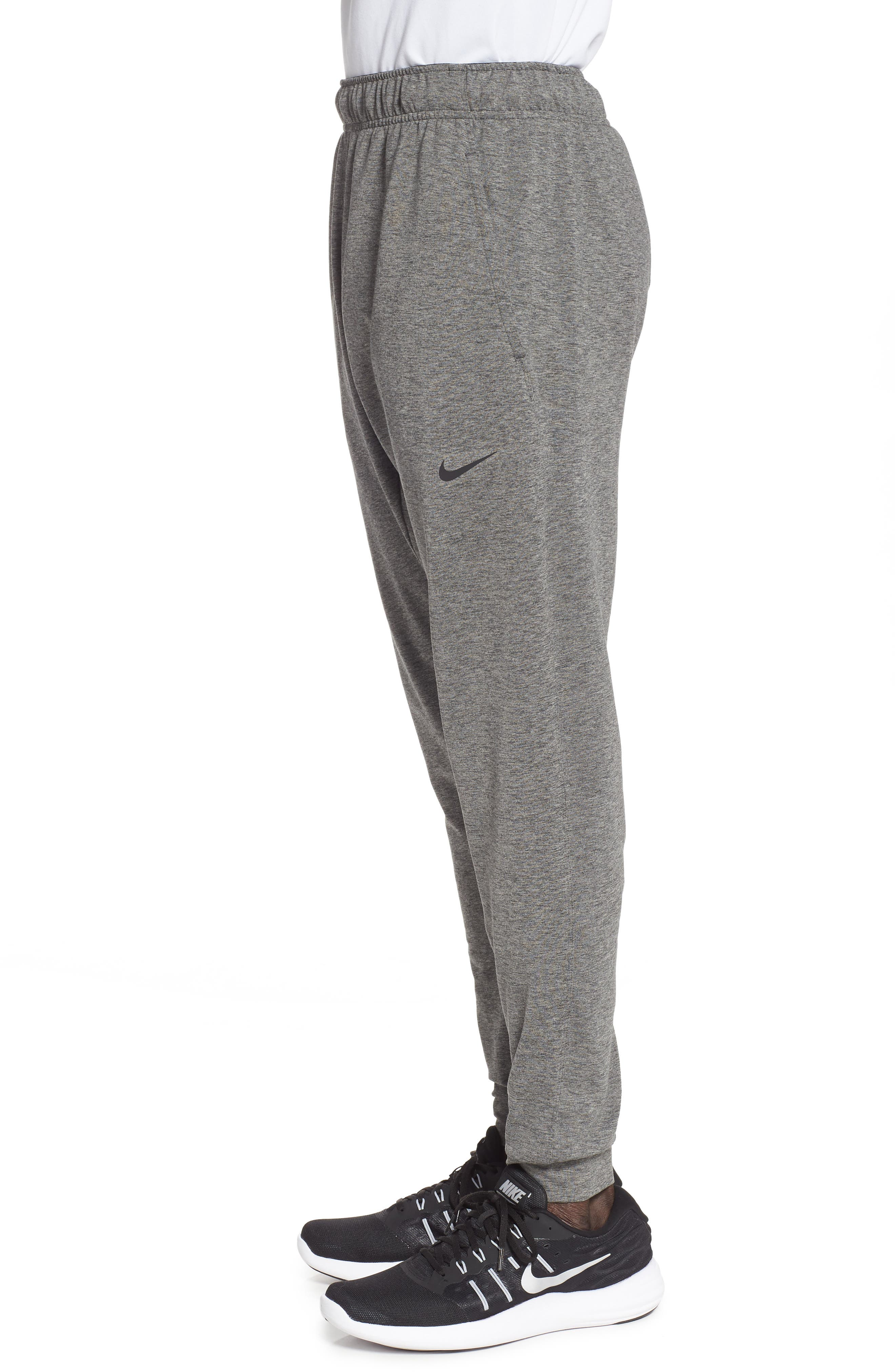 NIKE, Transcend Dry Yoga Training Pants, Alternate thumbnail 4, color, BLACK/ HEATHER/ BLACK