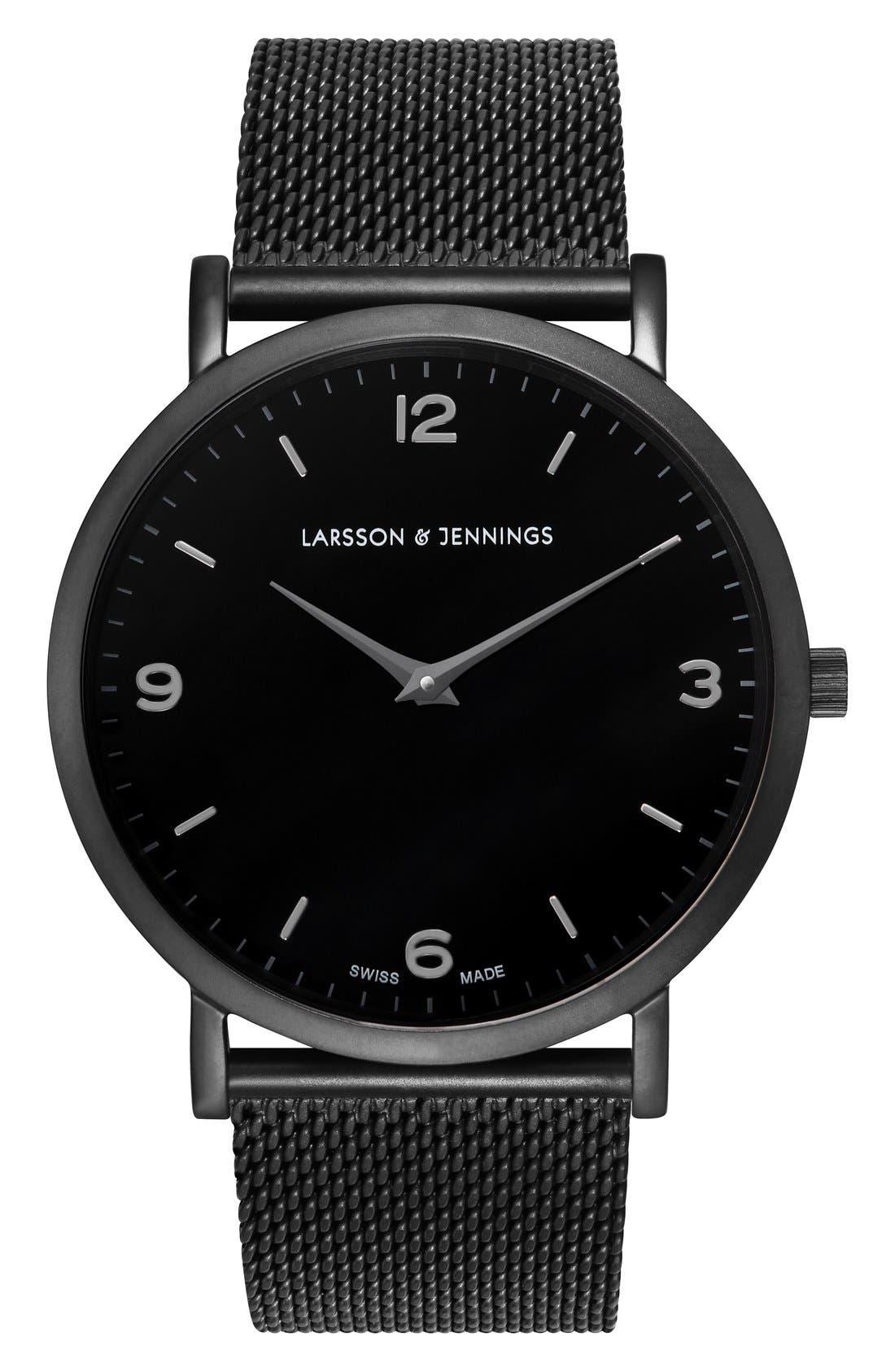 LARSSON & JENNINGS, Lugano Mesh Strap Watch, 38mm, Main thumbnail 1, color, 001