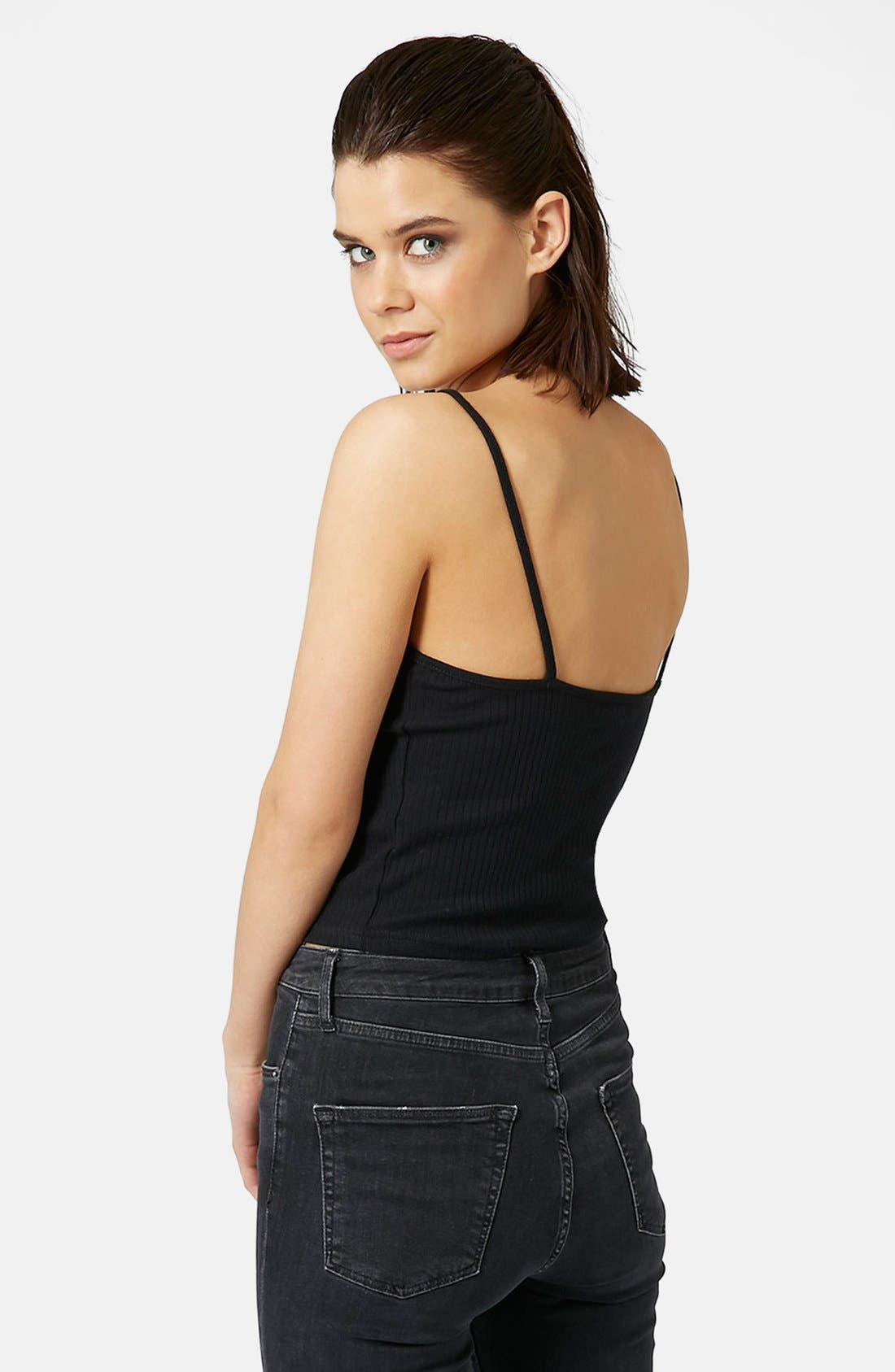 TOPSHOP, Ribbed Crop Camisole, Alternate thumbnail 3, color, 001