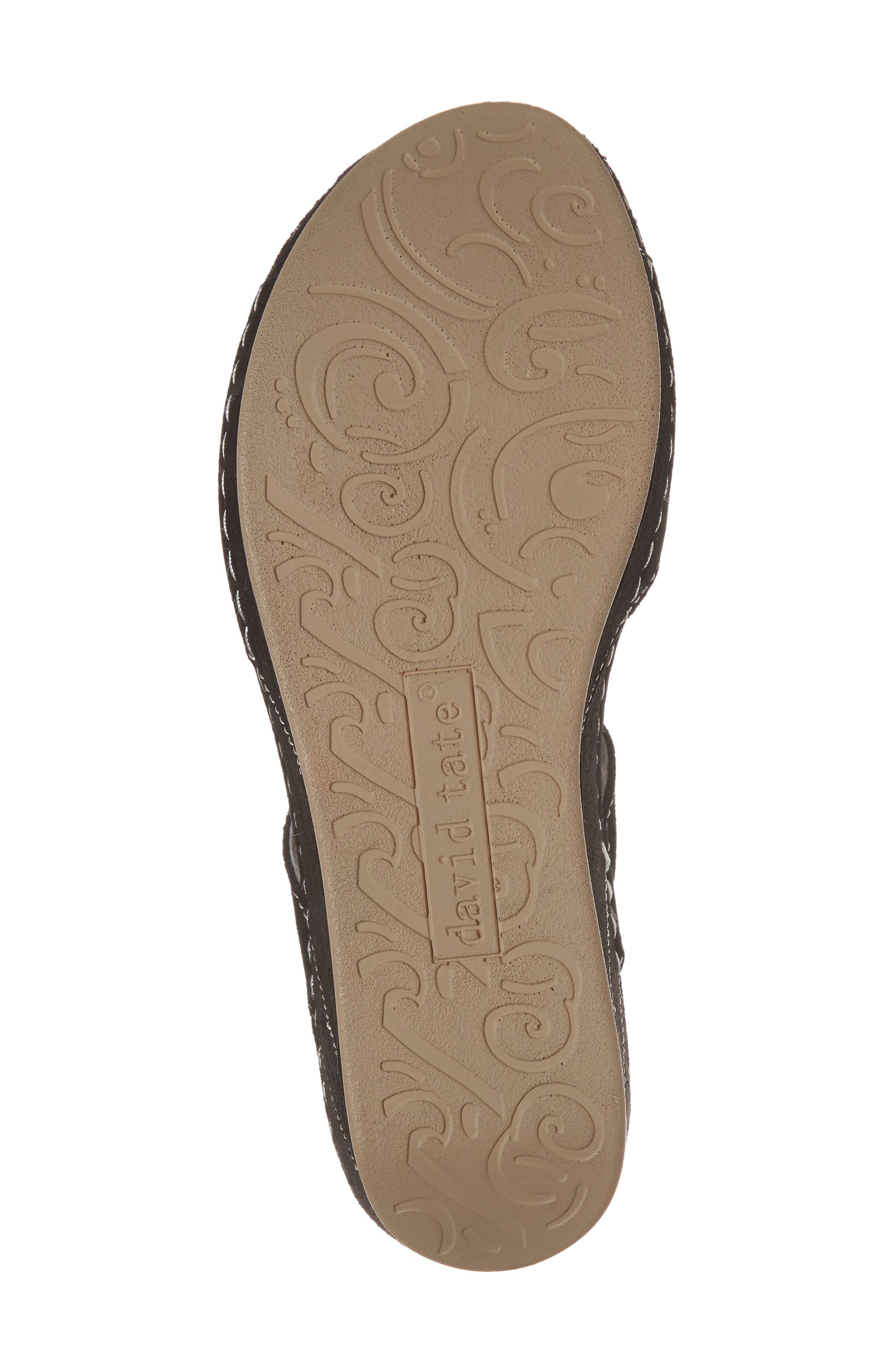 DAVID TATE, Bubbly Embellished T-Strap Wedge Sandal, Alternate thumbnail 6, color, BLACK SUEDE