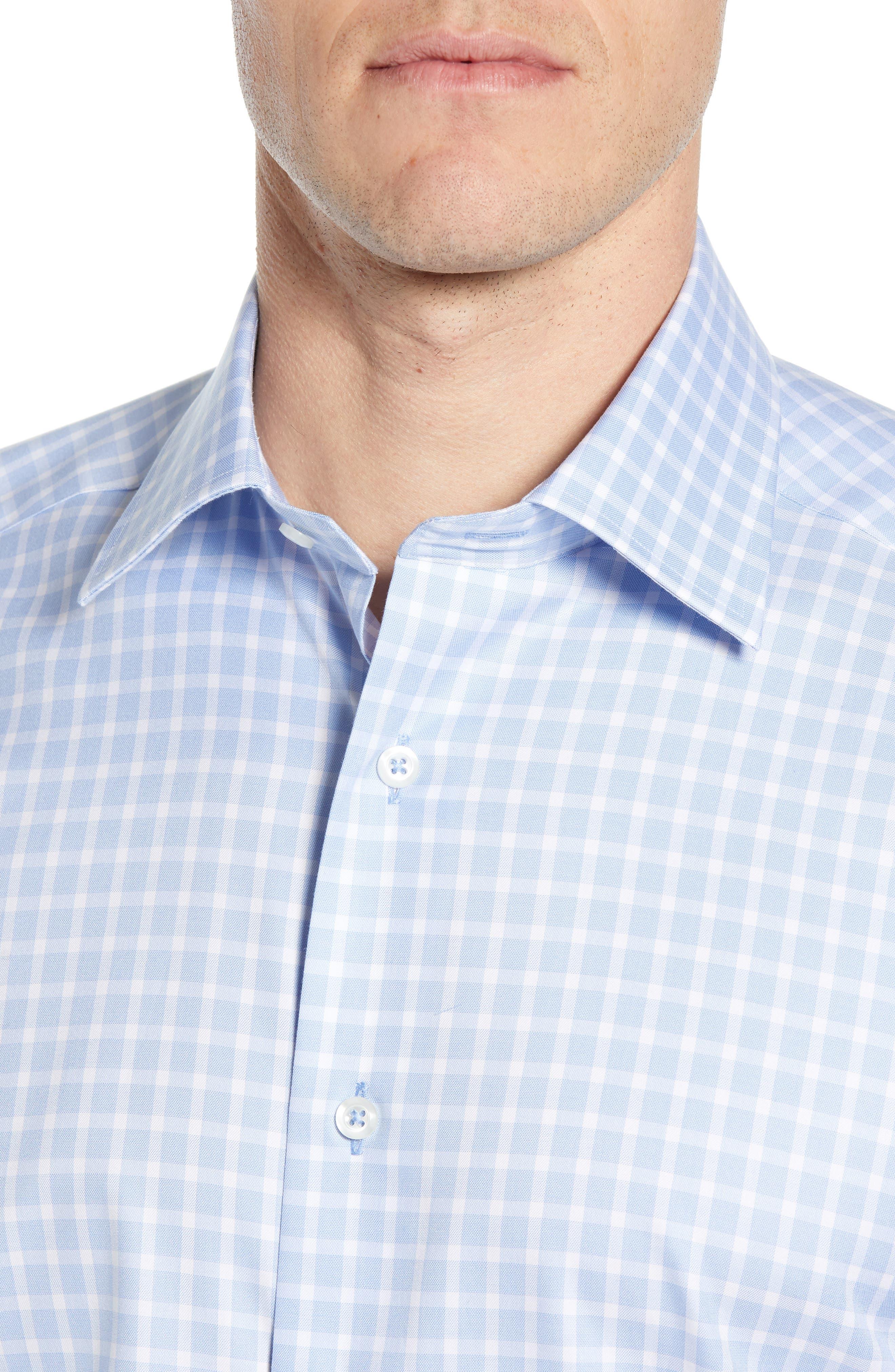 DAVID DONAHUE, Trim Fit Check Dress Shirt, Alternate thumbnail 2, color, BLUE