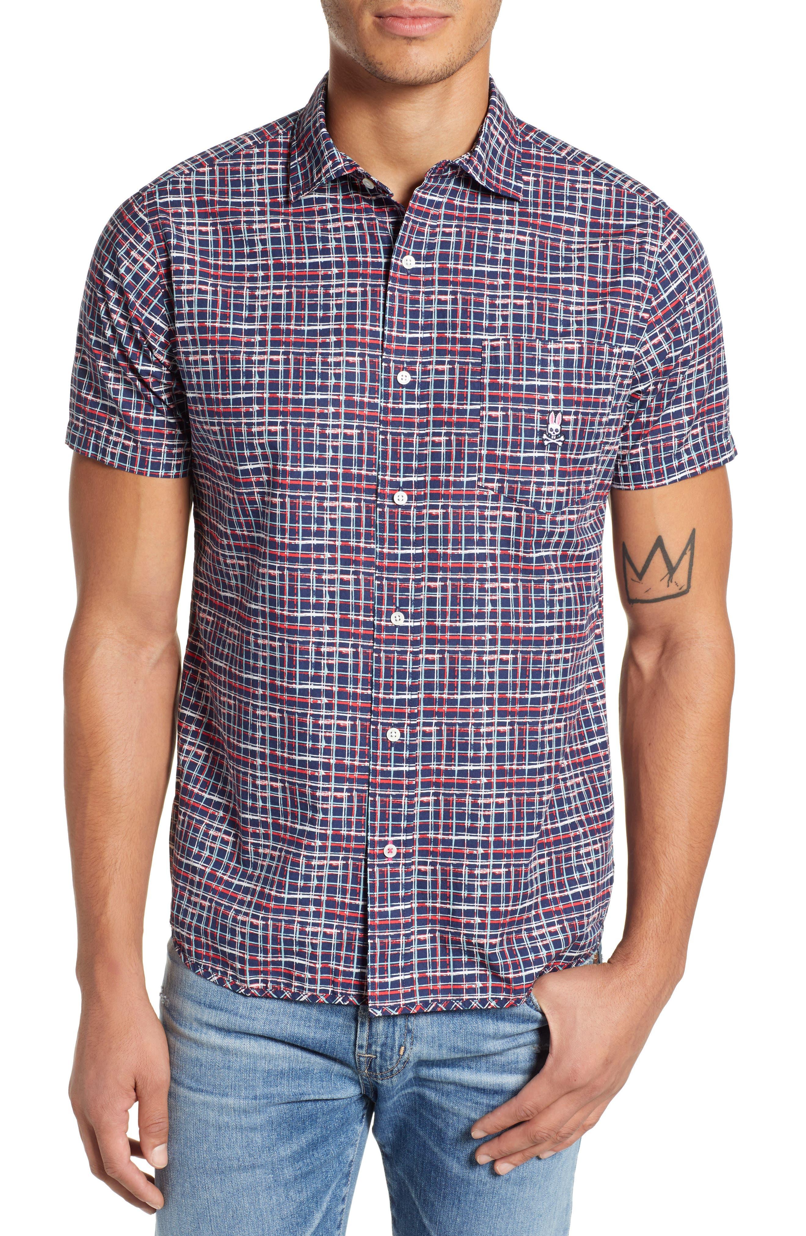PSYCHO BUNNY Grid Print Camp Shirt, Main, color, CASSIS