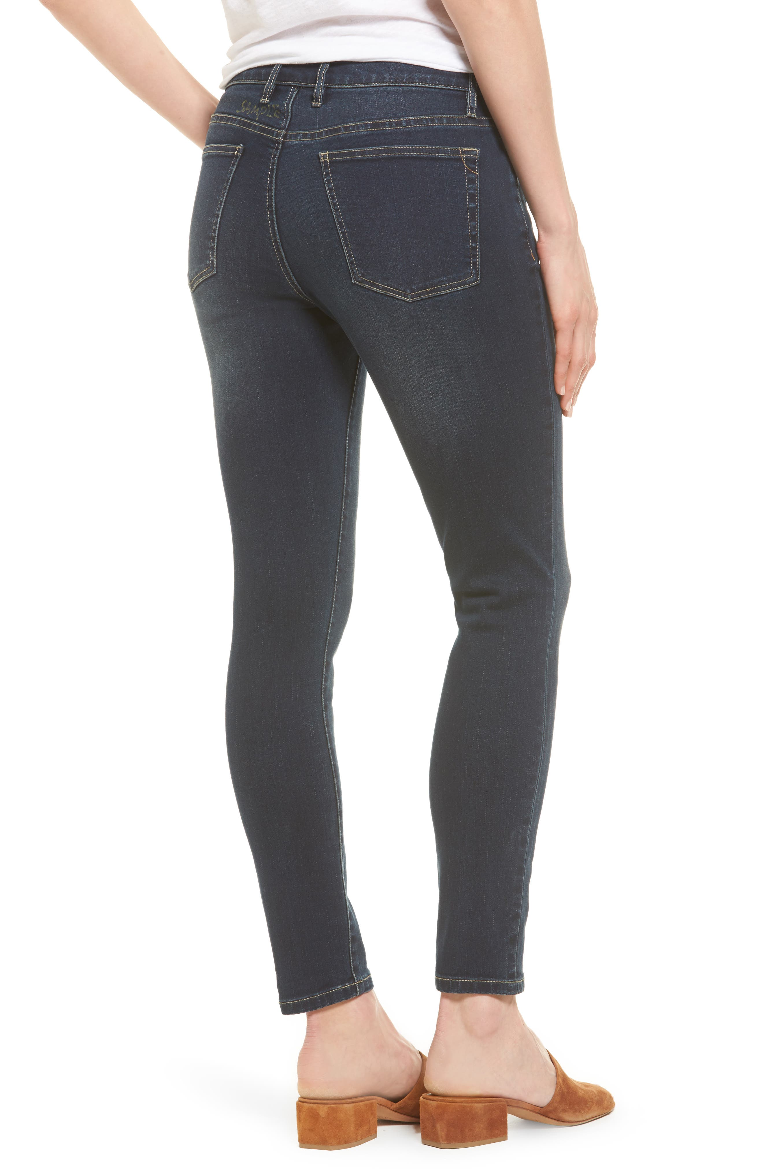 TOMMY BAHAMA, Tema Stretch Skinny Jeans, Alternate thumbnail 2, color, DARK OCEAN WASH