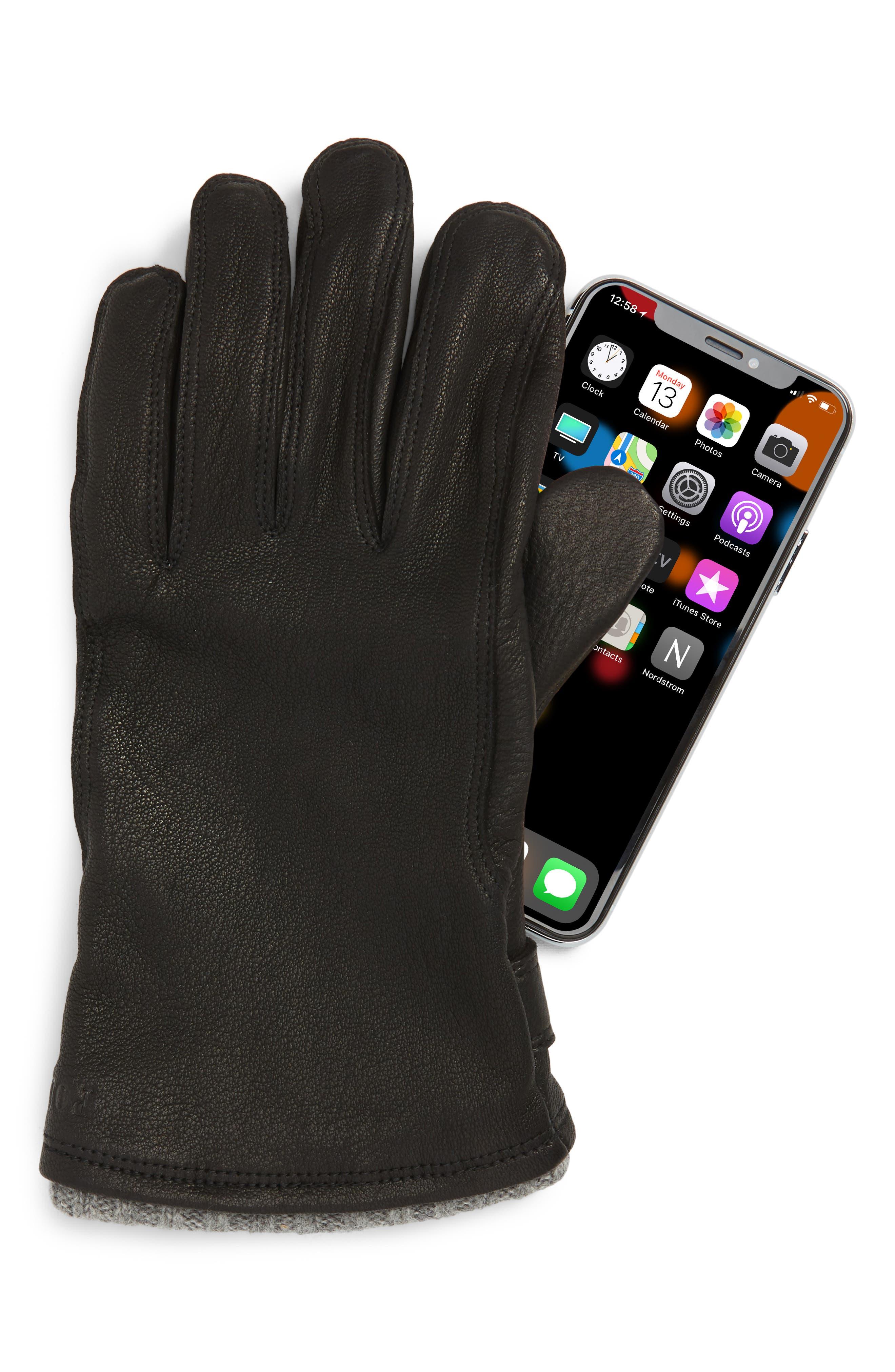 POLO RALPH LAUREN, Deerskin Gloves, Alternate thumbnail 2, color, BLACK