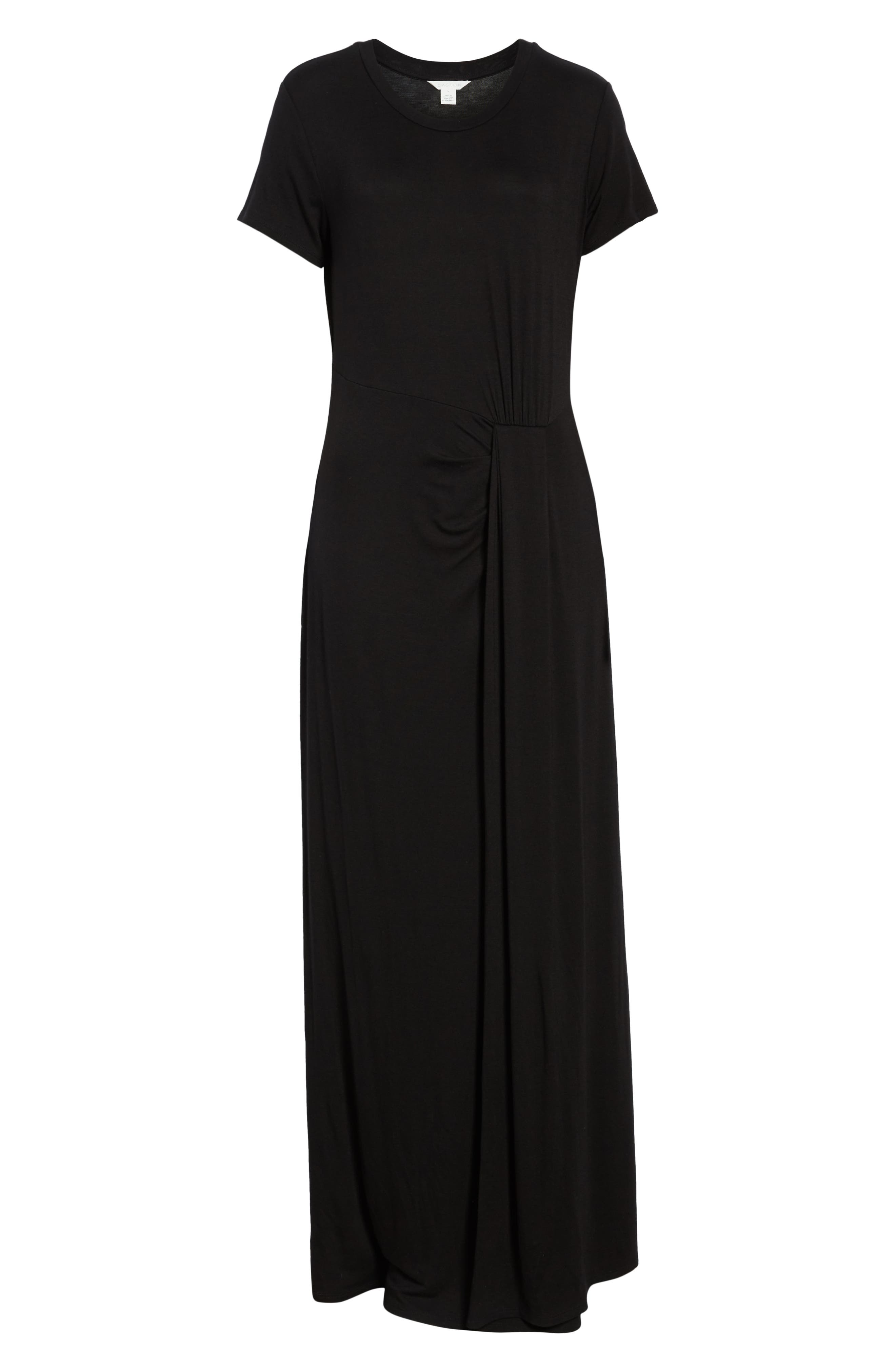 CASLON<SUP>®</SUP>, Front Gathered Maxi Dress, Alternate thumbnail 7, color, 001