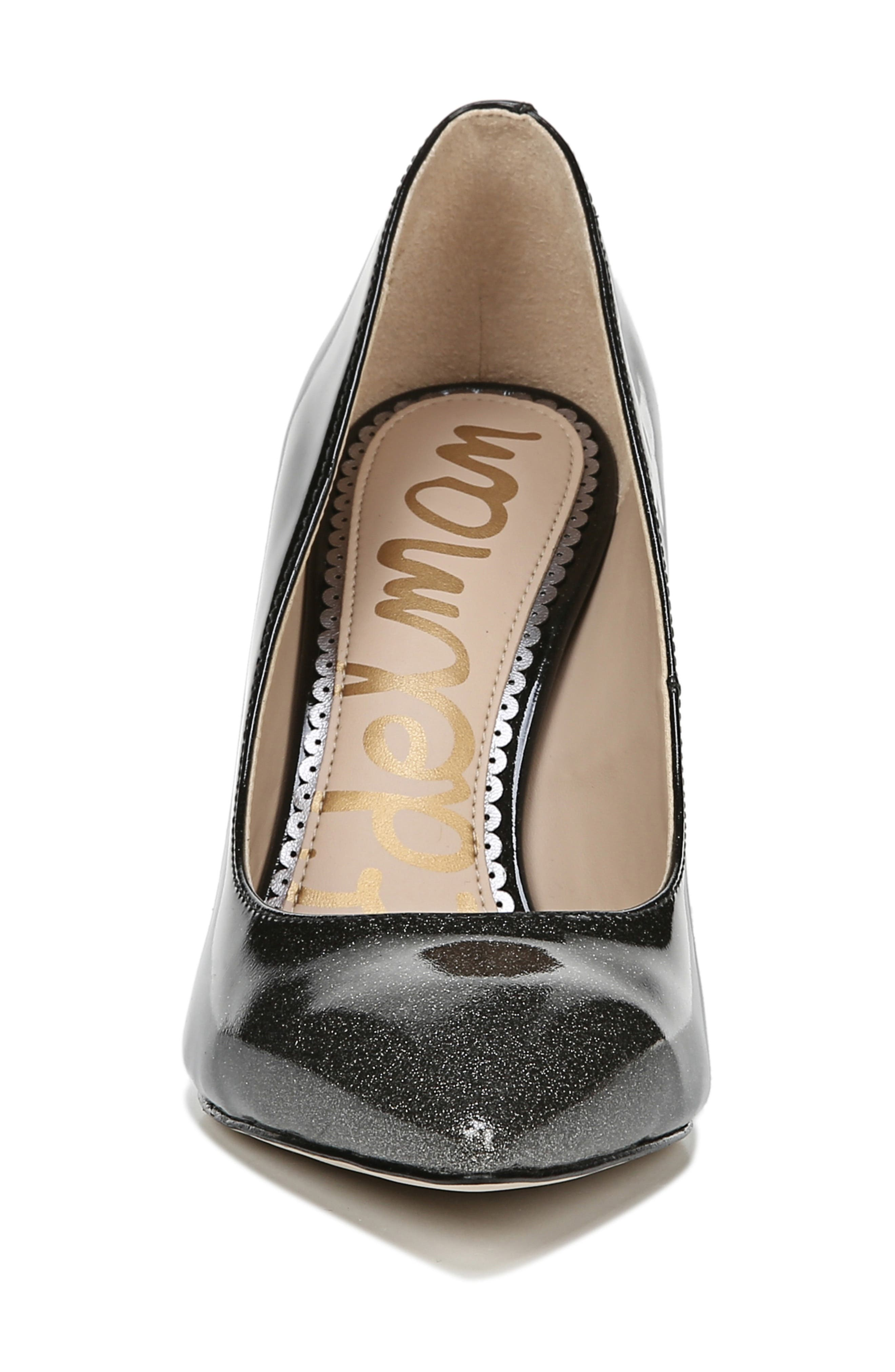 SAM EDELMAN, Hazel Pointy Toe Pump, Alternate thumbnail 3, color, BLACK/ SILVER