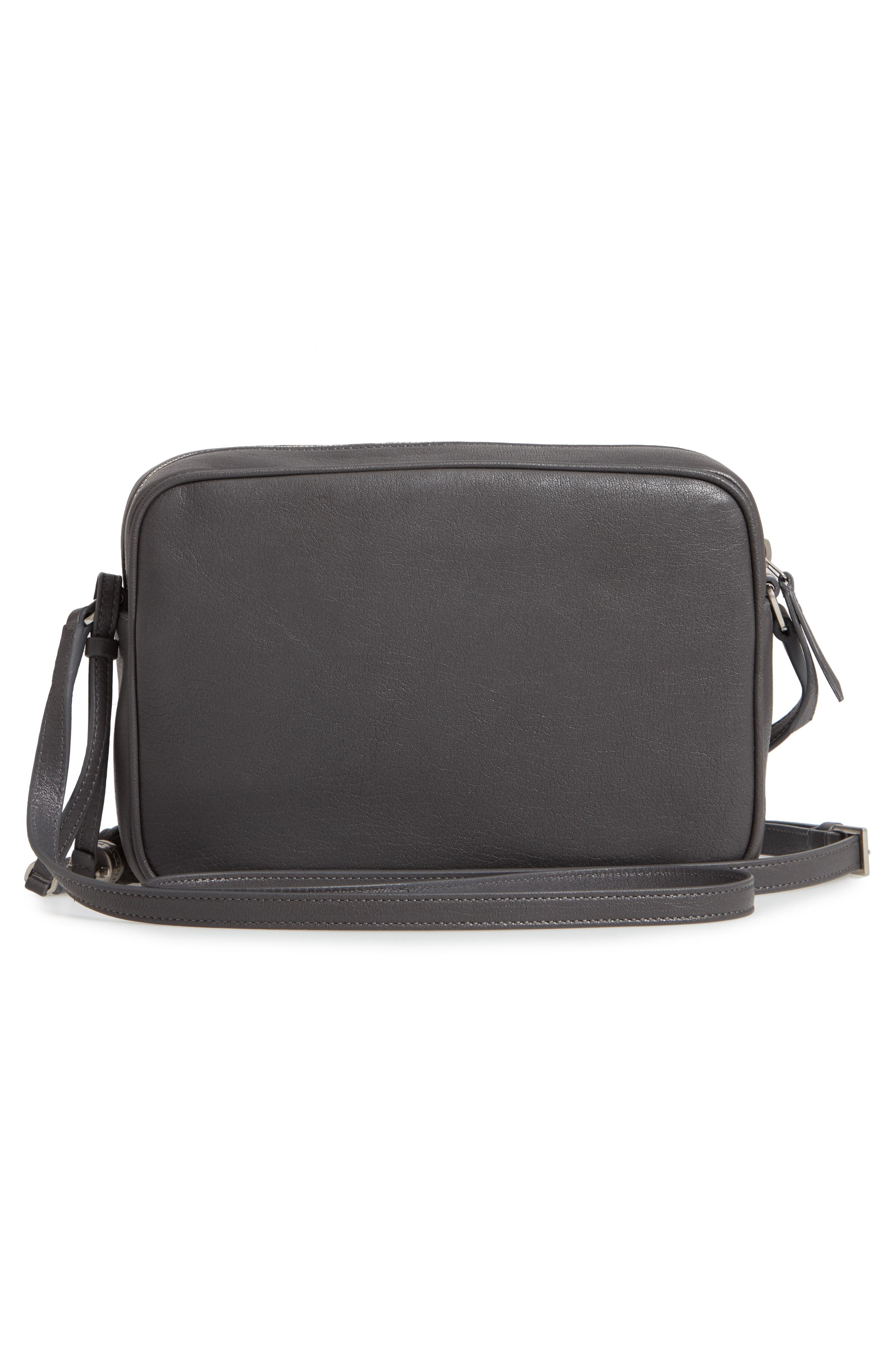 SAINT LAURENT, Small Mono Leather Camera Bag, Alternate thumbnail 3, color, STORM
