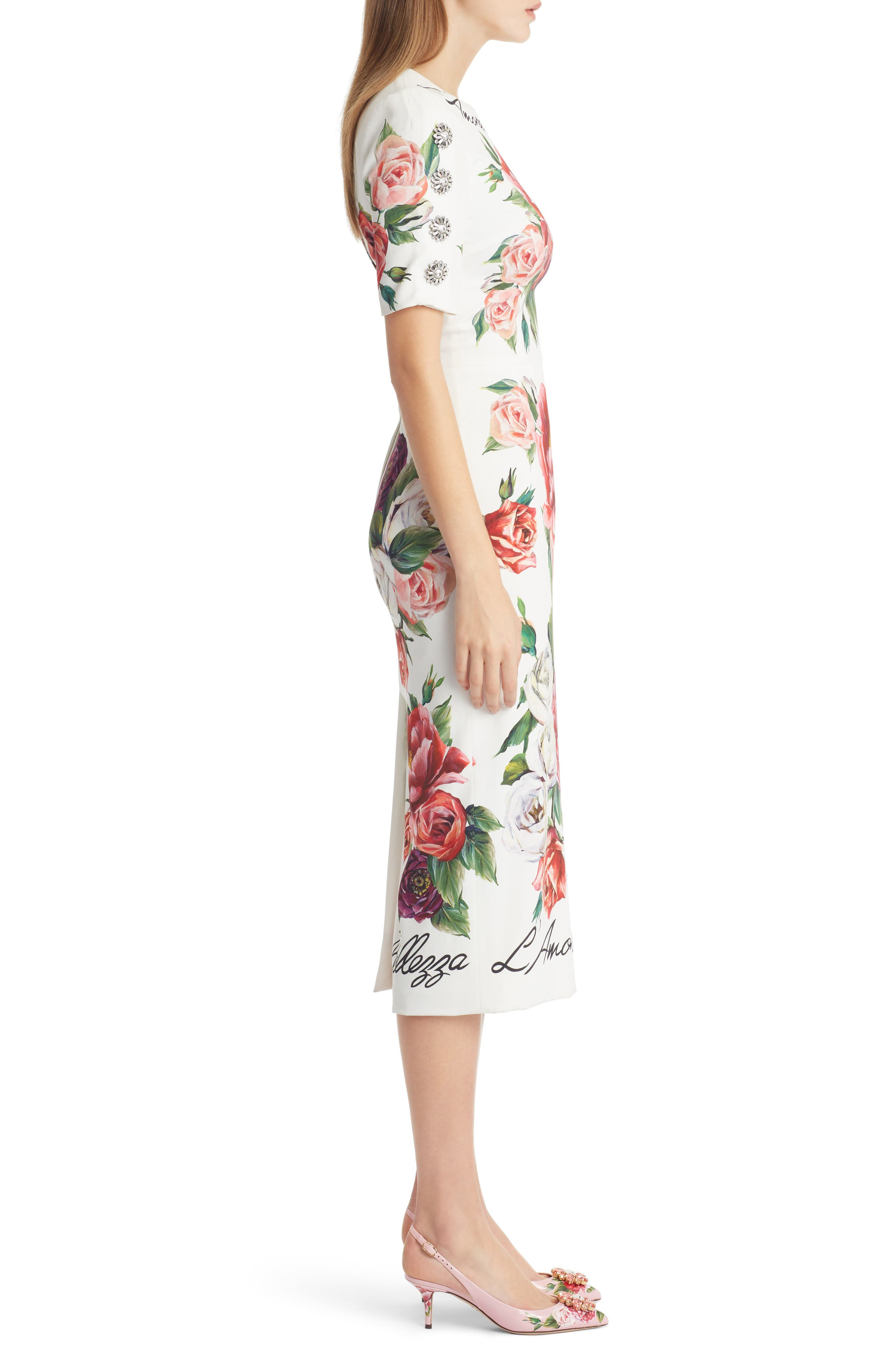 DOLCE&GABBANA, Jewel Button Peony Print Cady Dress, Alternate thumbnail 3, color, 115