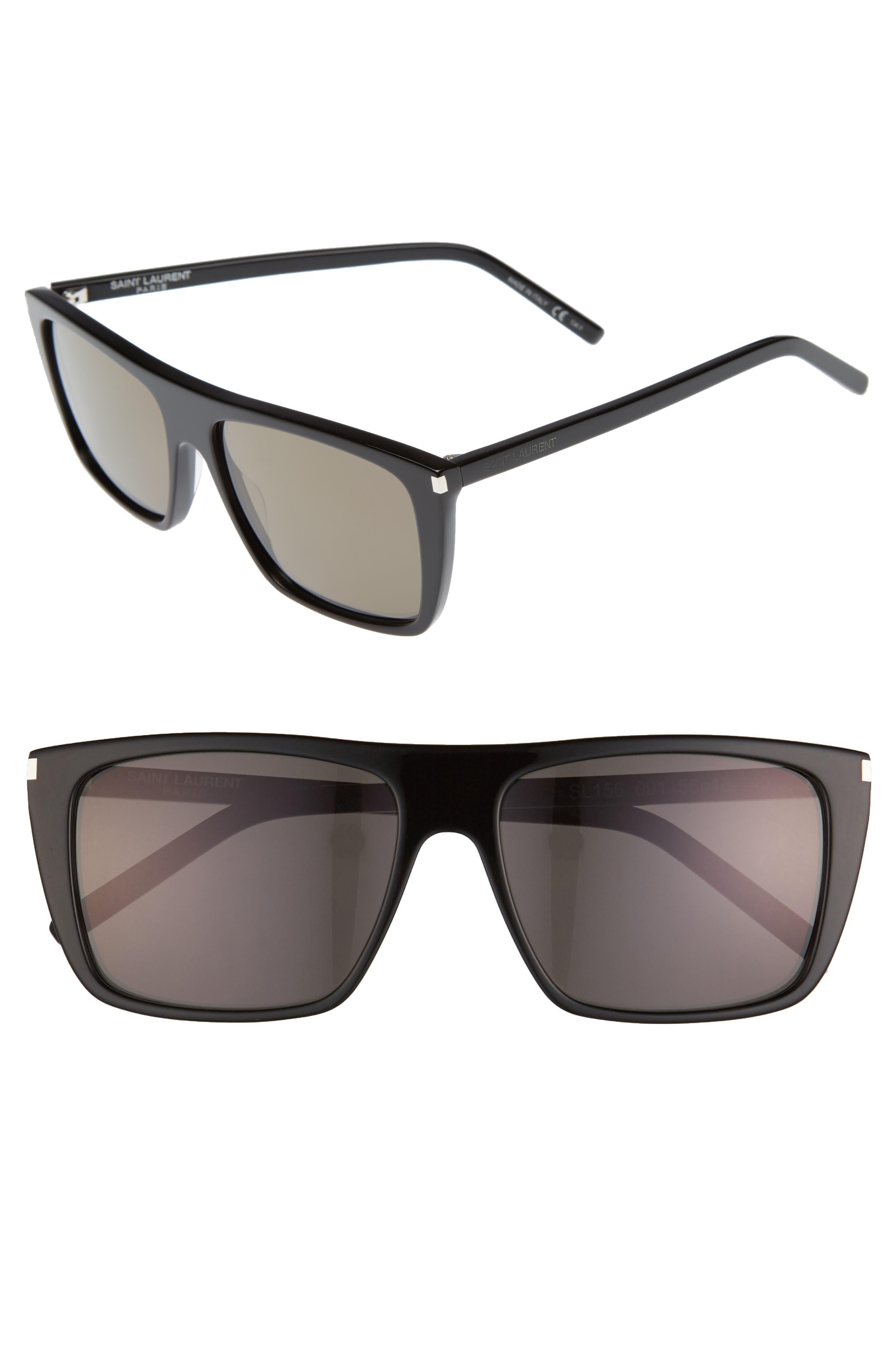 SAINT LAURENT, Avana 56mm Flat Top Sunglasses, Main thumbnail 1, color, 001