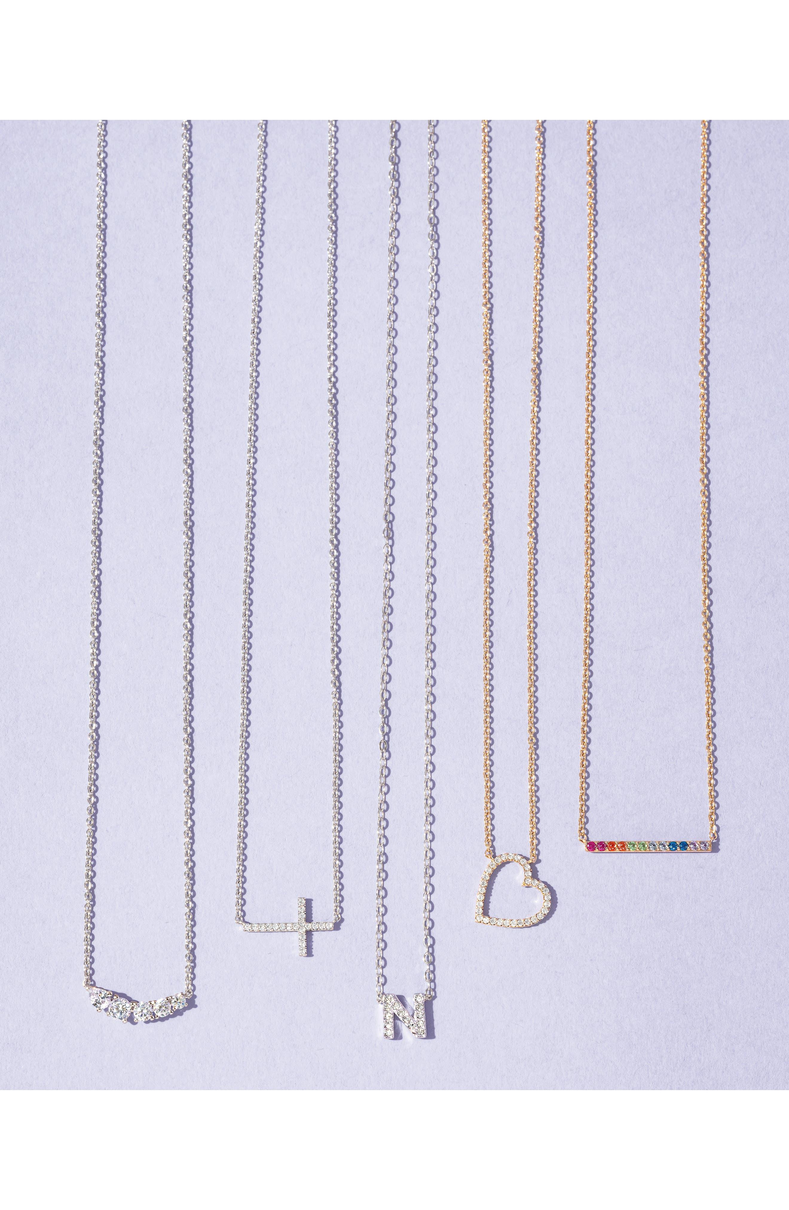 NADRI, Initial Pendant Necklace, Alternate thumbnail 3, color, N SILVER