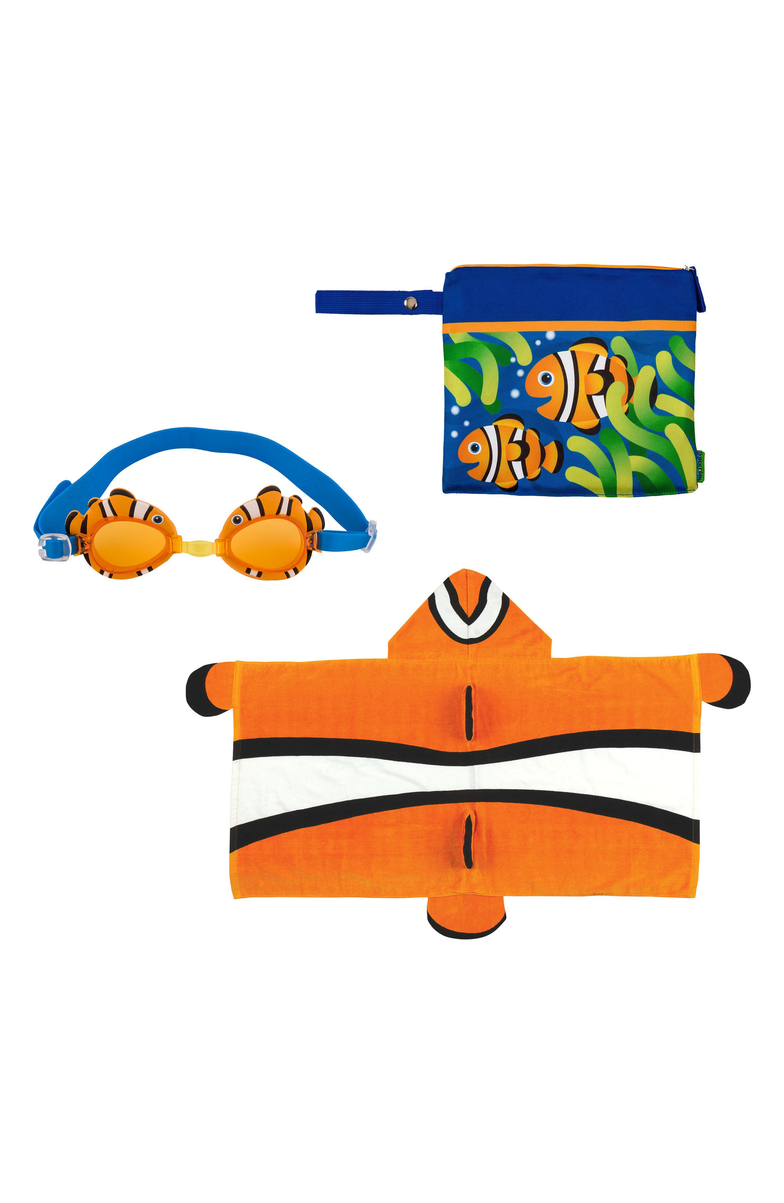 Stephen Joseph Wetdry Bag Hooded Towel  Goggles Size One Size  Orange