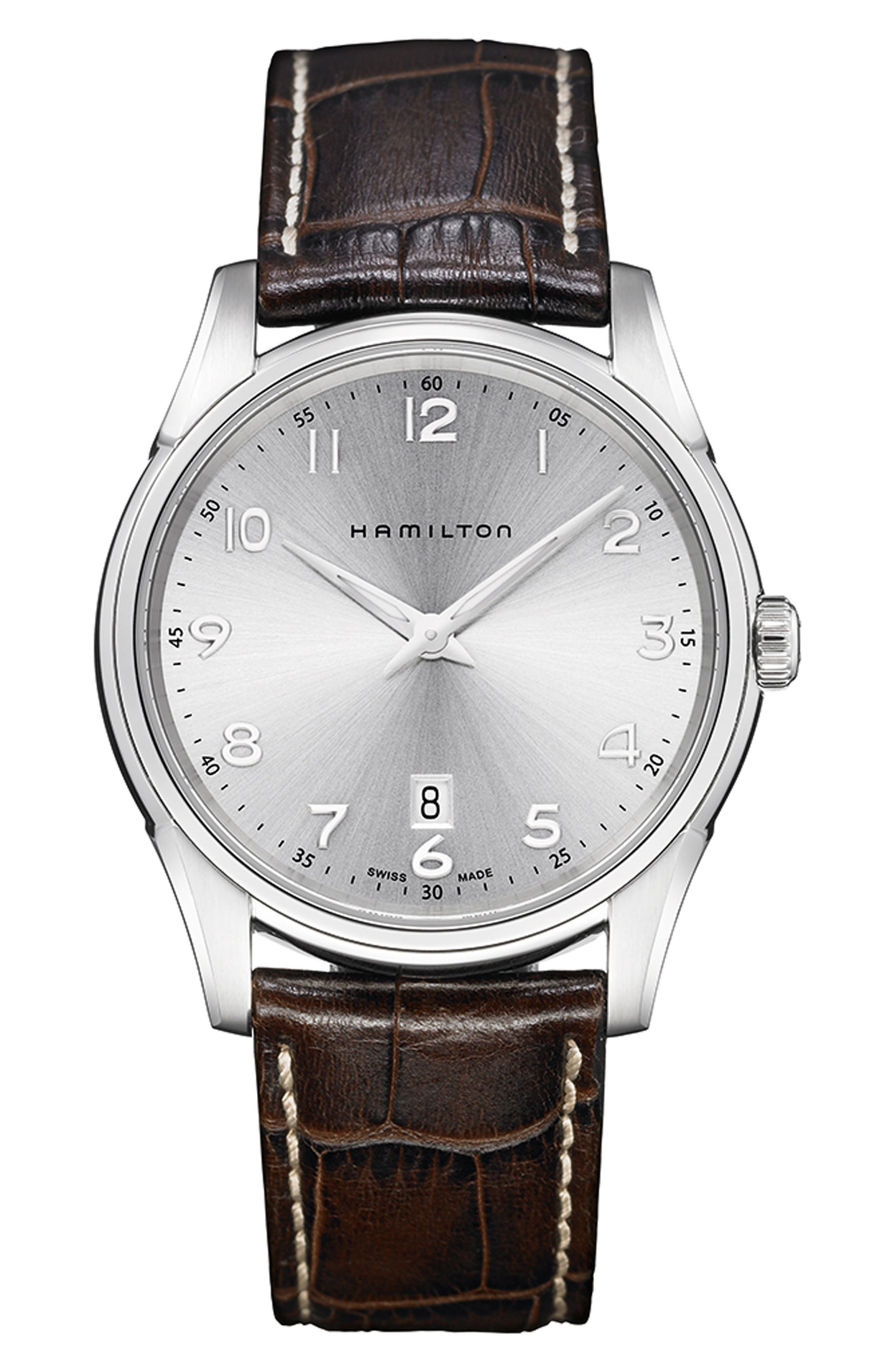 HAMILTON, Jazzmaster Thinline Leather Strap Watch, 42mm, Main thumbnail 1, color, BROWN/ SILVER