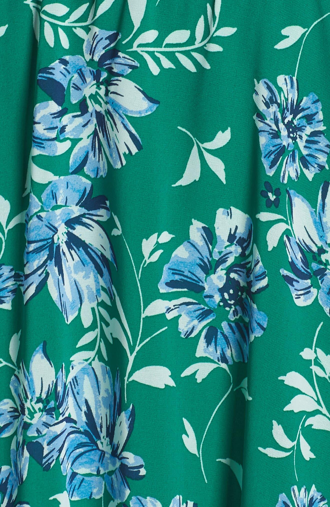 CHARLES HENRY, Smocked Handkerchief Hem Dress, Alternate thumbnail 6, color, KELLY GREEN FLORAL