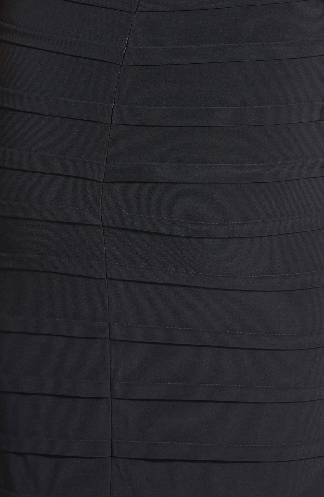 ADRIANNA PAPELL, V-Neck Shutter Pleat Sheath Dress, Alternate thumbnail 4, color, 001