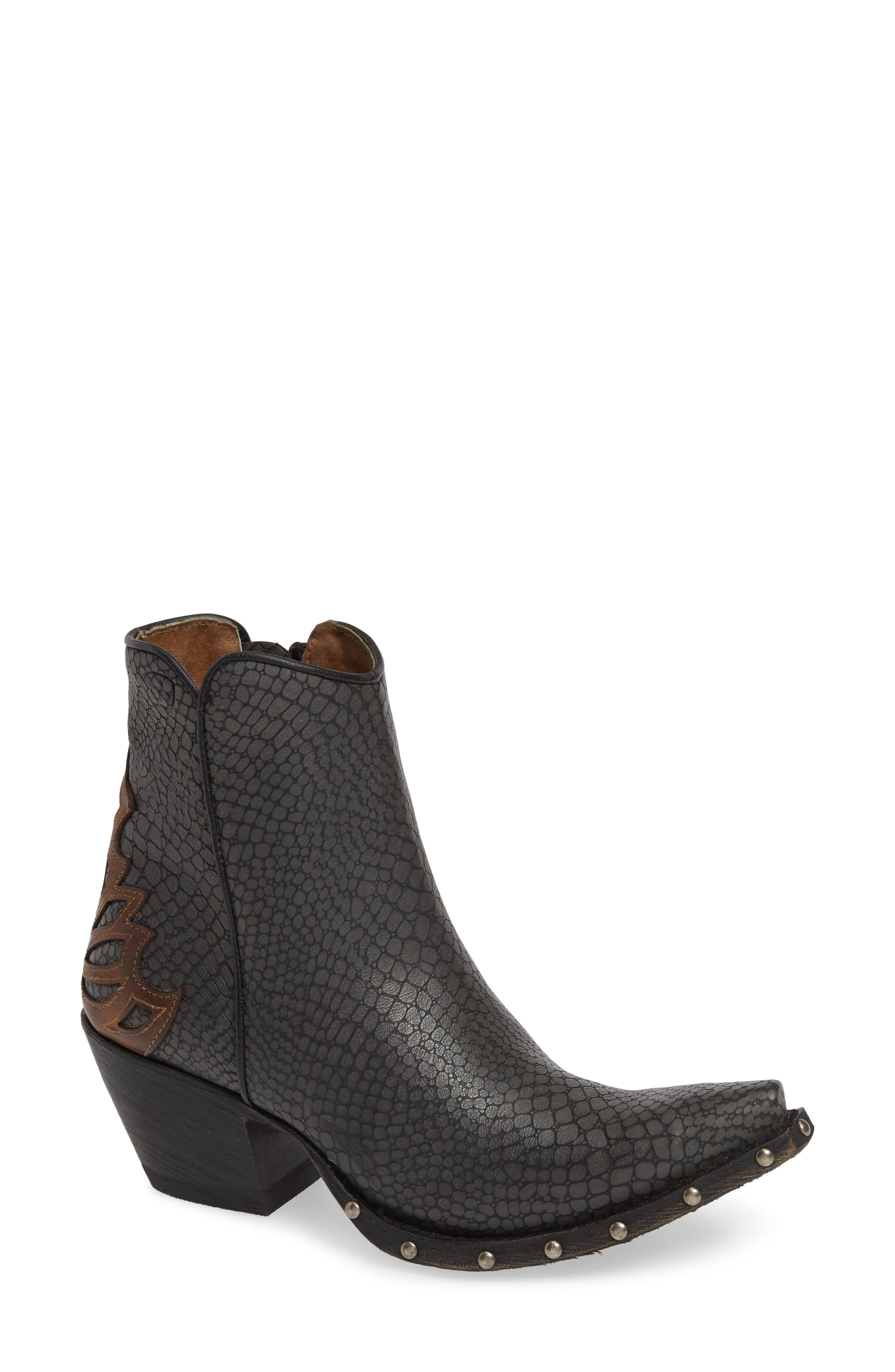 ARIAT Fenix Western Bootie, Main, color, CHIC GREY CRACKLED TAN LEATHER