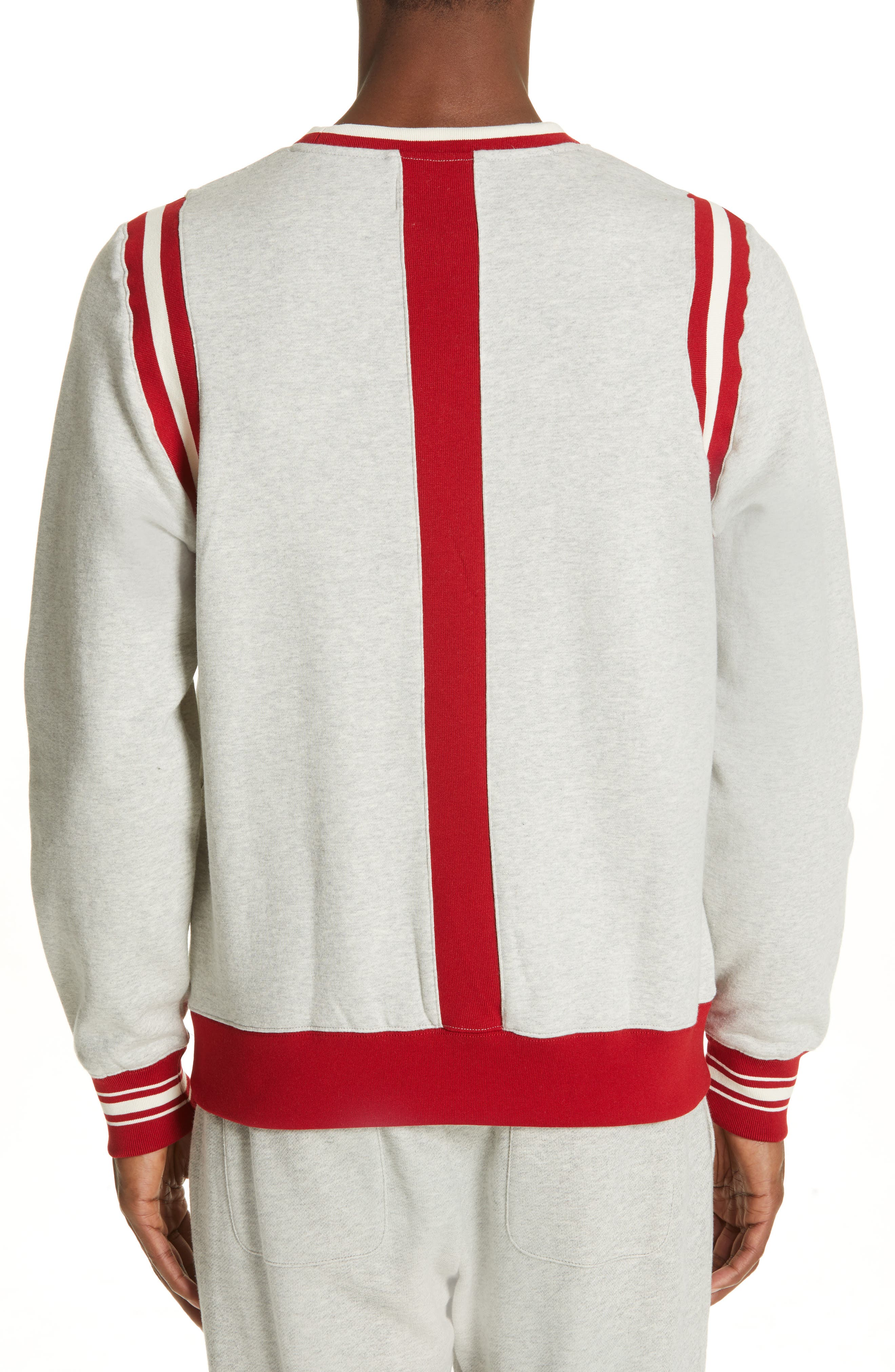 OVADIA & SONS, Varsity Sweatshirt, Alternate thumbnail 2, color, HEATHER GREY/RED