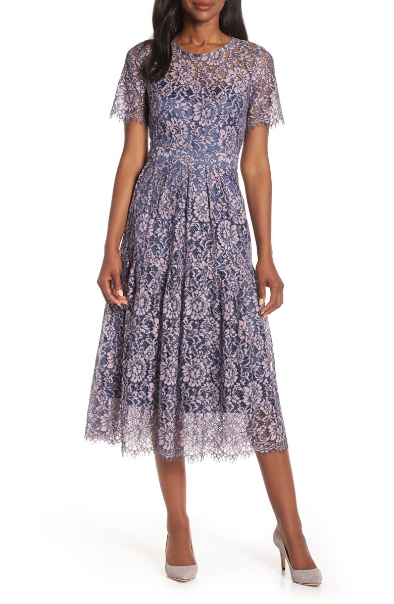 Eliza J Dresses TWO-TONE EMBROIDERED LACE COCKTAIL DRESS