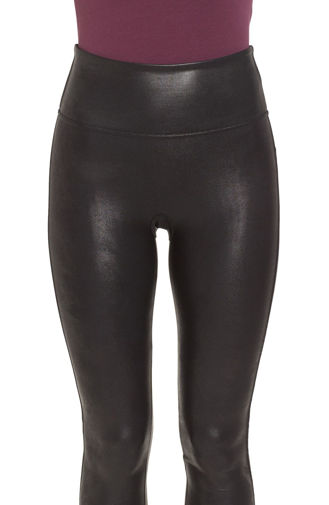 SPANX<SUP>®</SUP>, Faux Leather Leggings, Alternate thumbnail 6, color, BLACK
