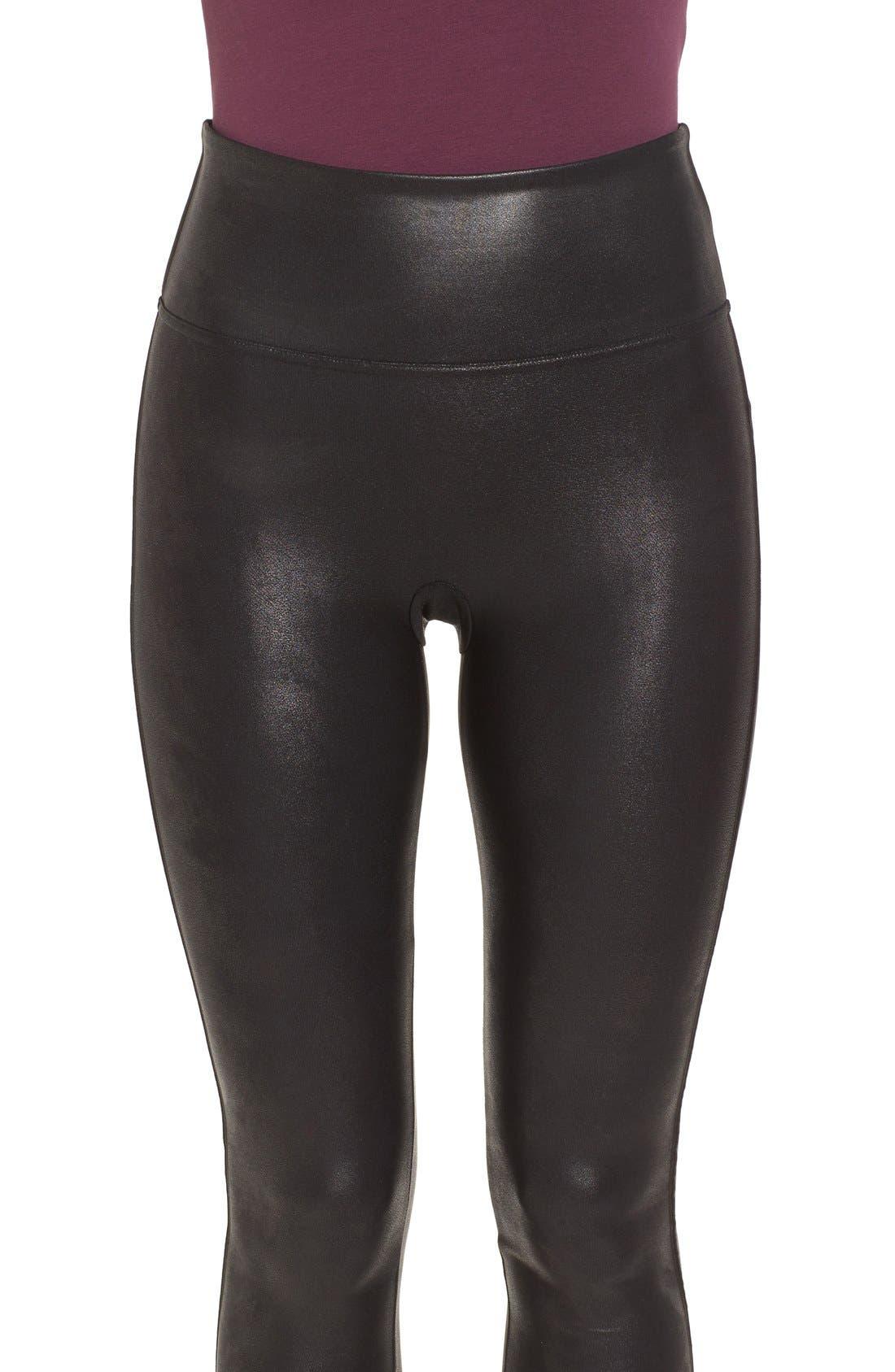 SPANX<SUP>®</SUP>, Faux Leather Leggings, Alternate thumbnail 6, color, BLACK