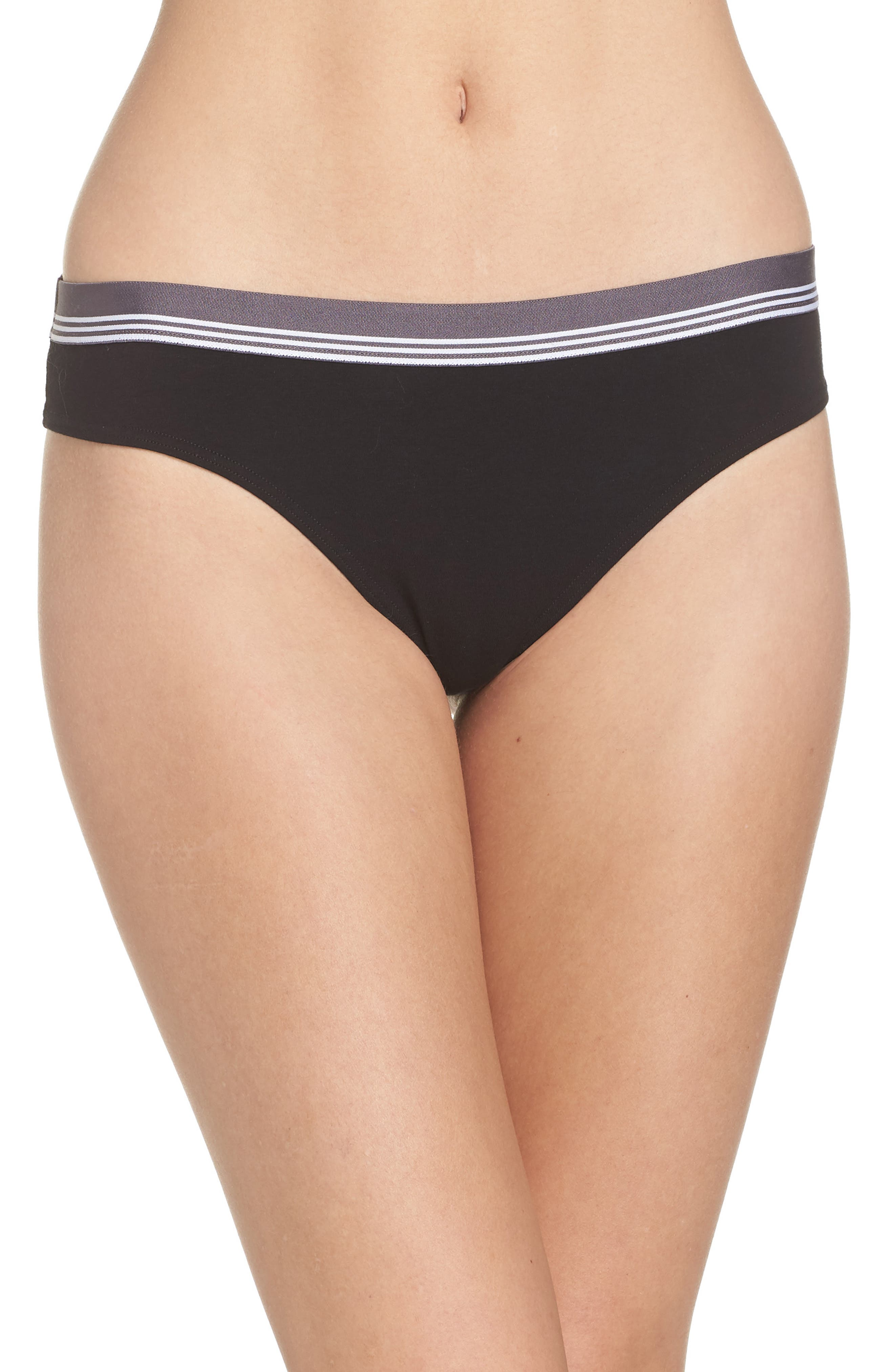 MAKE + MODEL Sporty Thong, Main, color, BLACK