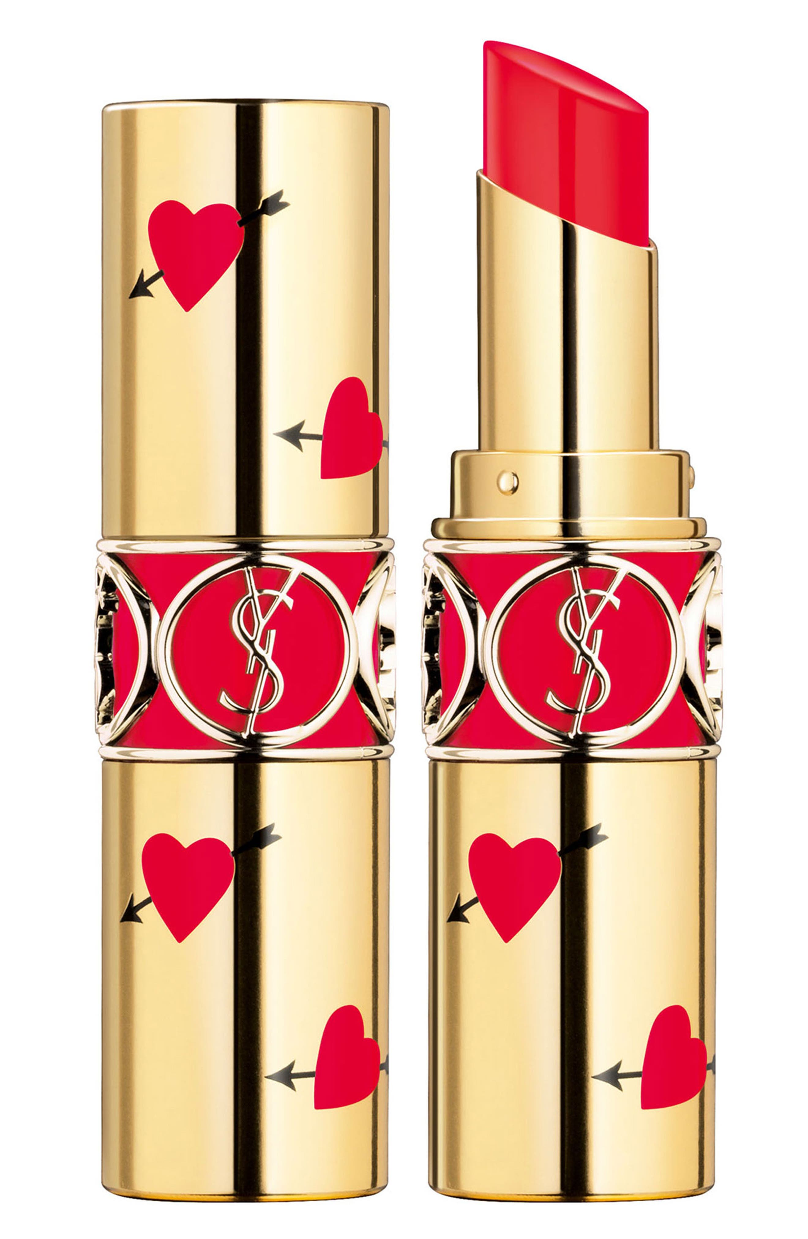YVES SAINT LAURENT, Heart and Arrow Rouge Volupte Shine Collector Oil-in-Stick Lipstick, Main thumbnail 1, color, 45 ROUGE TUXEDO