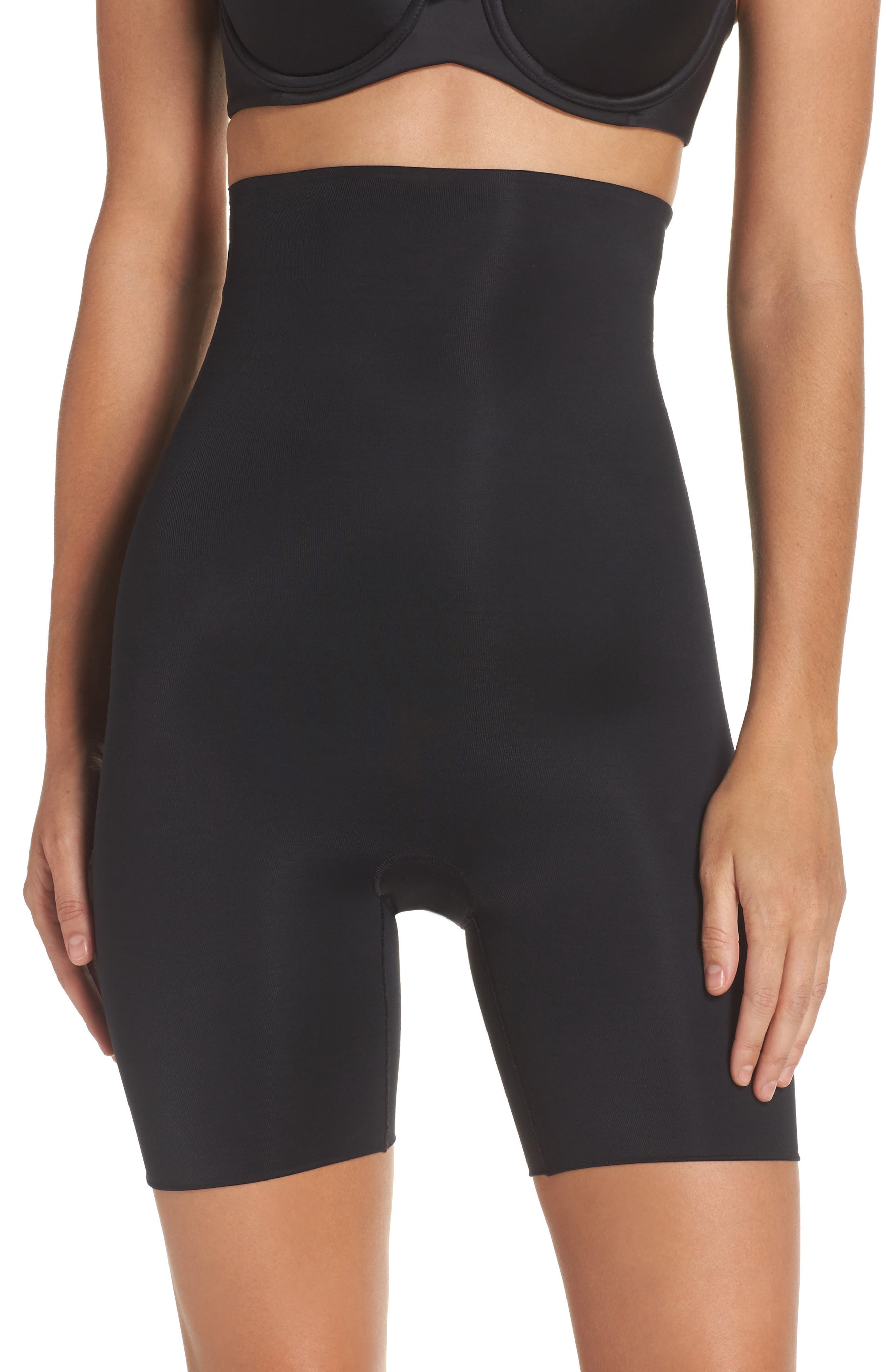 SPANX<SUP>®</SUP>, Power Conceal-Her High Waist Mid-Thigh Shaping Shorts, Main thumbnail 1, color, VERY BLACK